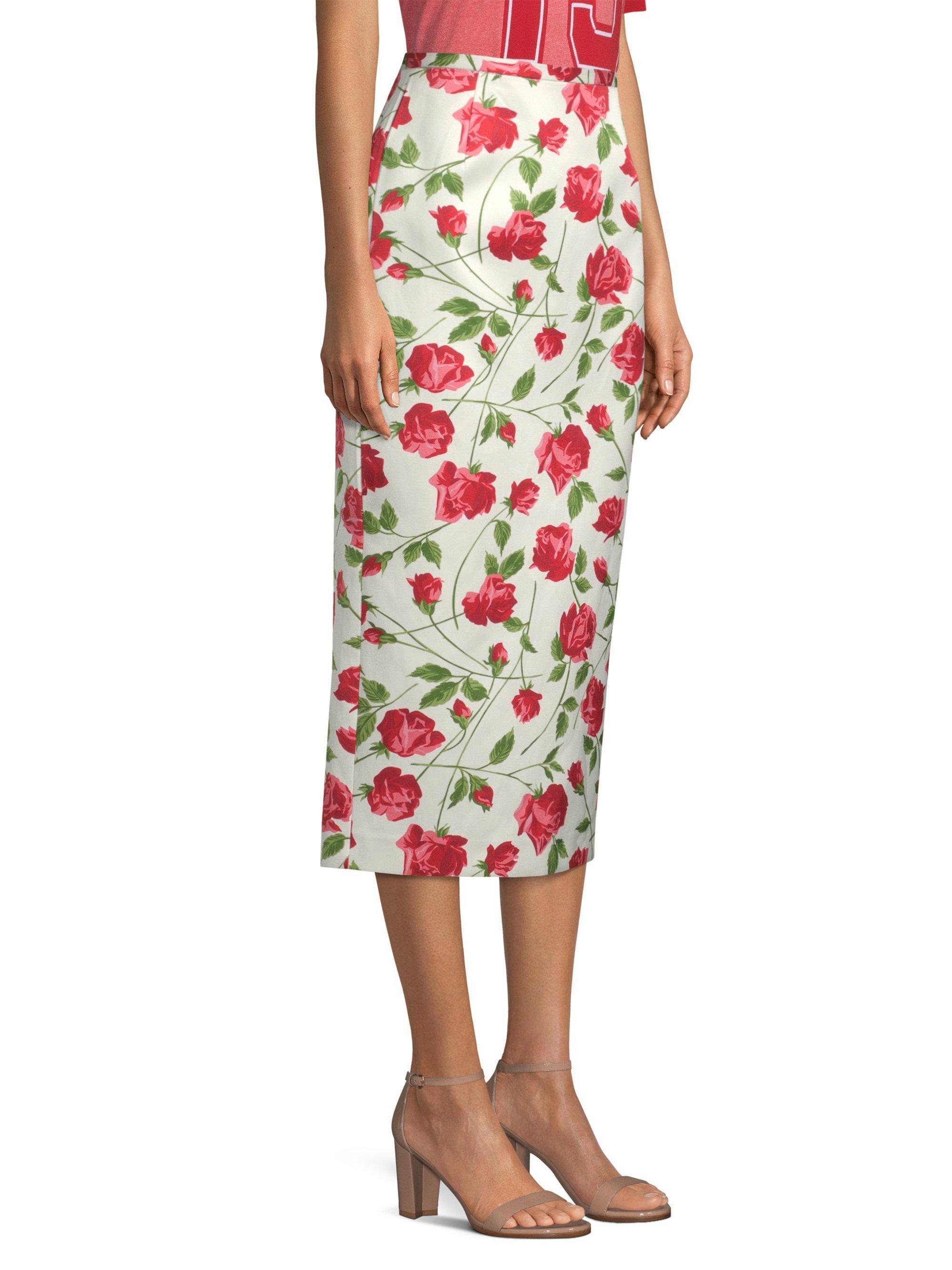 68e72e5be0709 Michael Kors Rose Print Pencil Skirt - Lyst