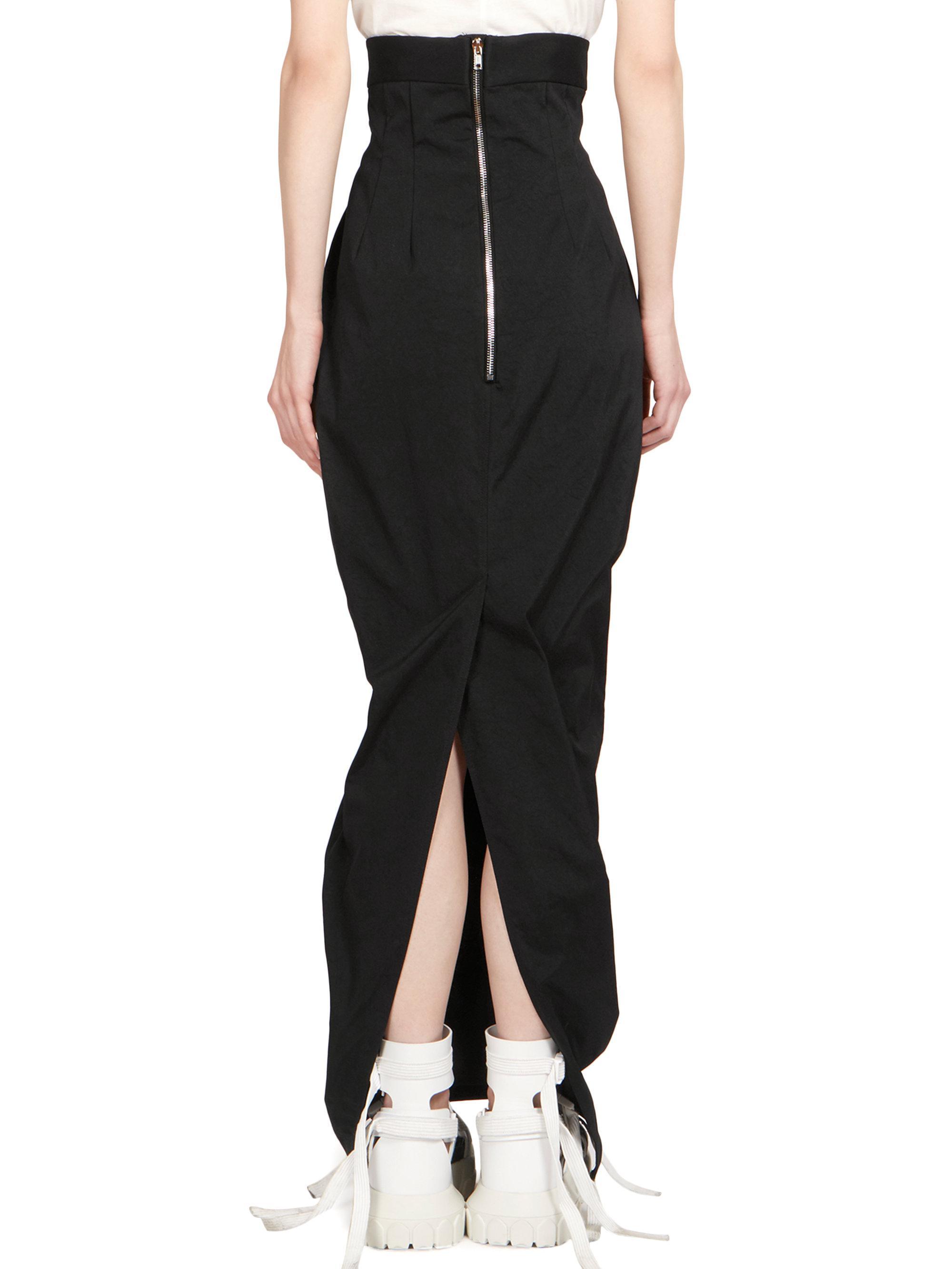 0ad36ba0d8 Rick Owens Dirt Pillar High Waist Maxi Skirt in Black - Lyst