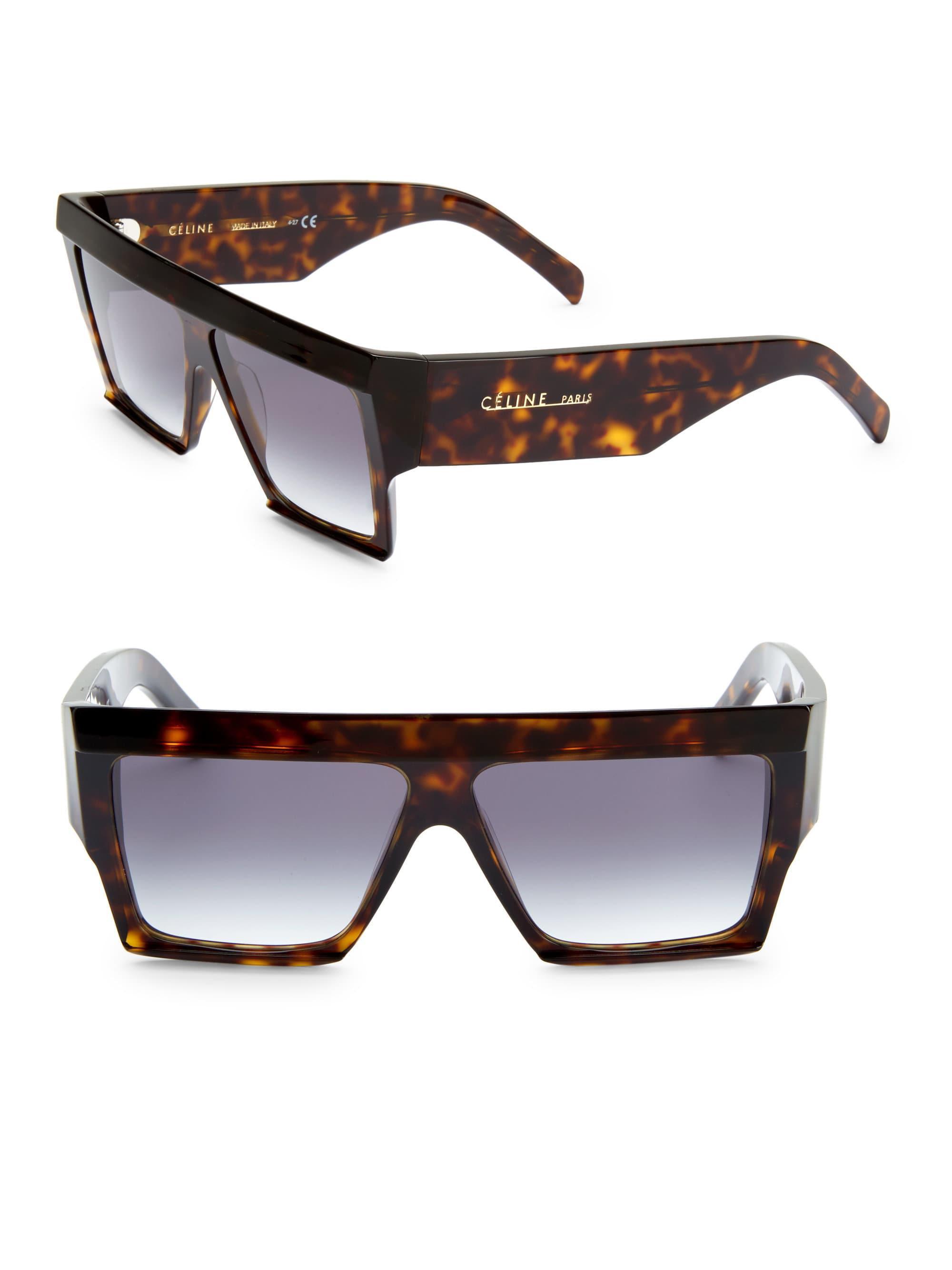 3ab500386273 Céline 60mm Tortoisue Square Sunglasses in Brown - Lyst