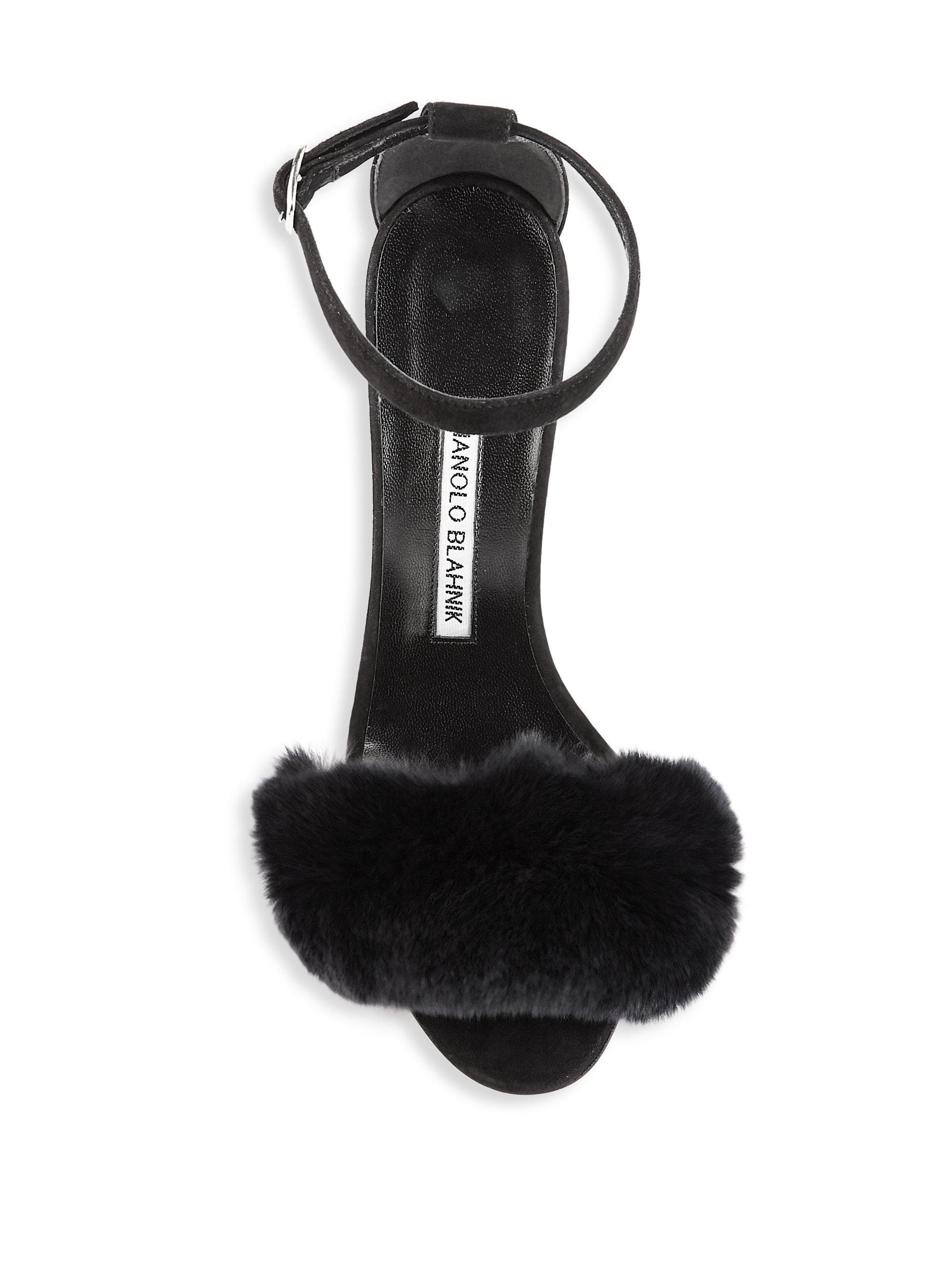 22febce4bfe66 Manolo Blahnik Mincha Fur-trim Suede Sandals in Black - Lyst