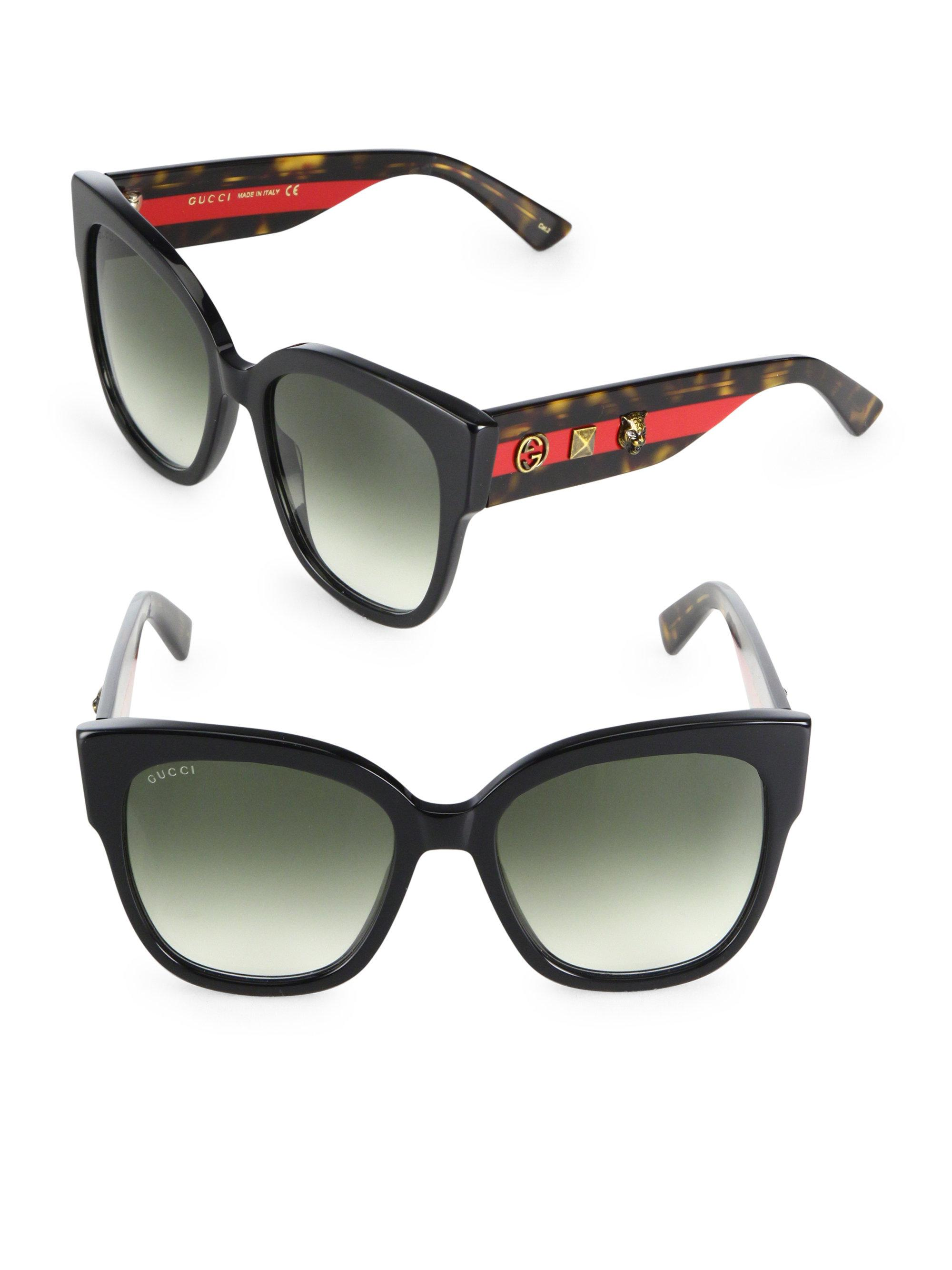 04fd48368ba Lyst - Gucci 55mm Oversized Studded Square Cat Eye Sunglasses in Black