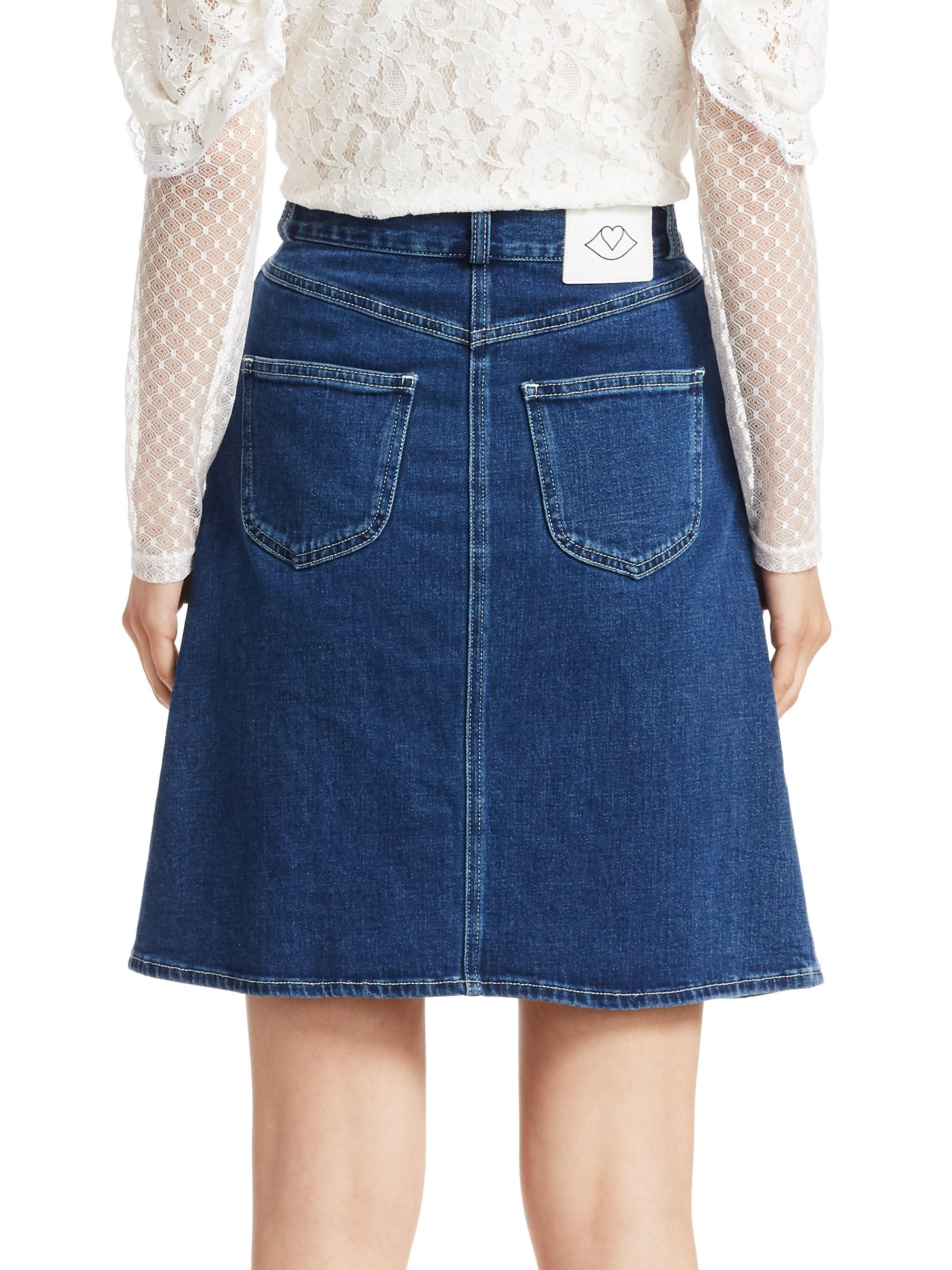 93dccf71d143e Lyst - See By Chloé Braided Denim Skirt in Blue