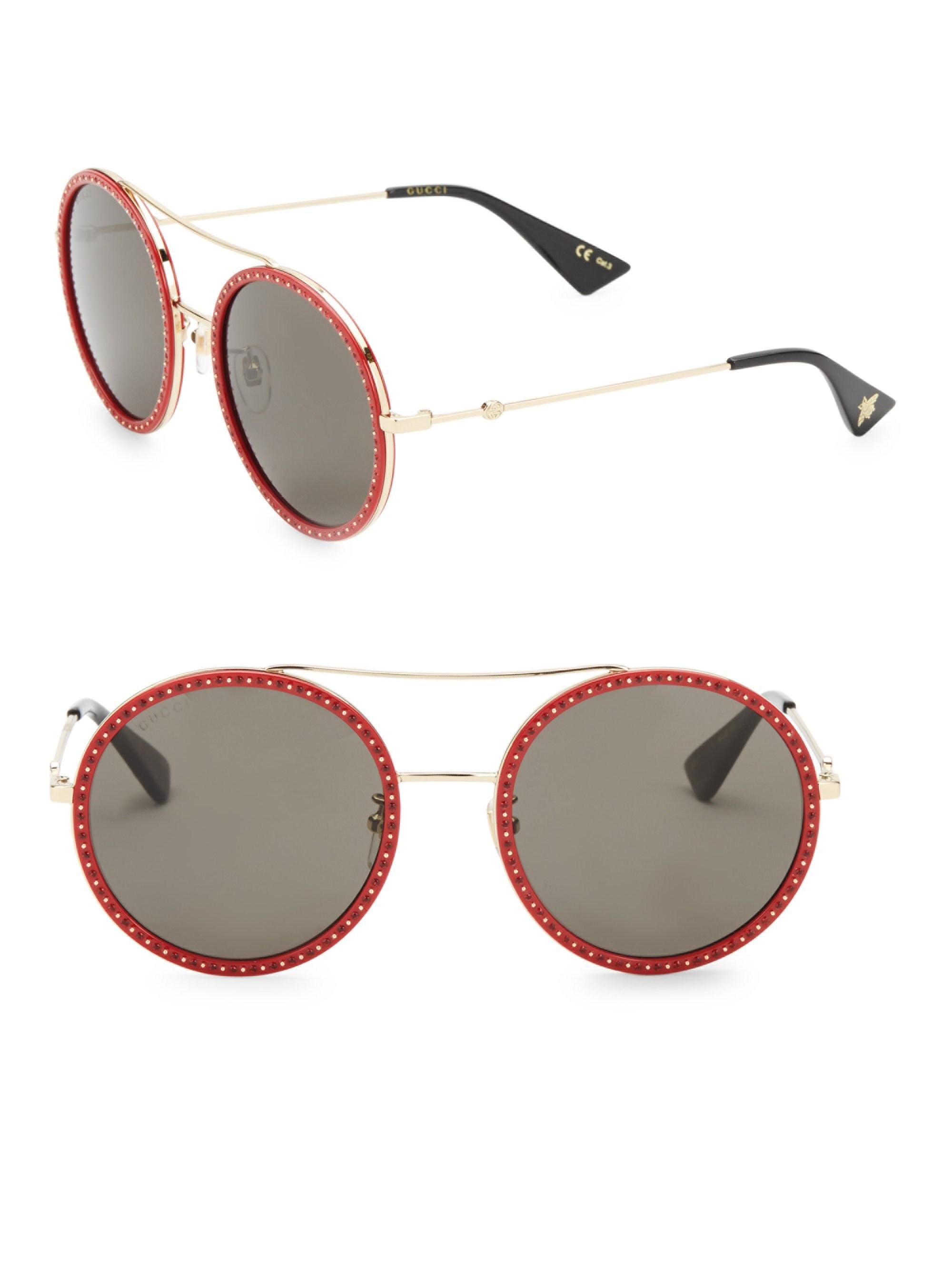 5646fd25412 Gucci - Red Round Metal Sunglasses - Lyst. View fullscreen