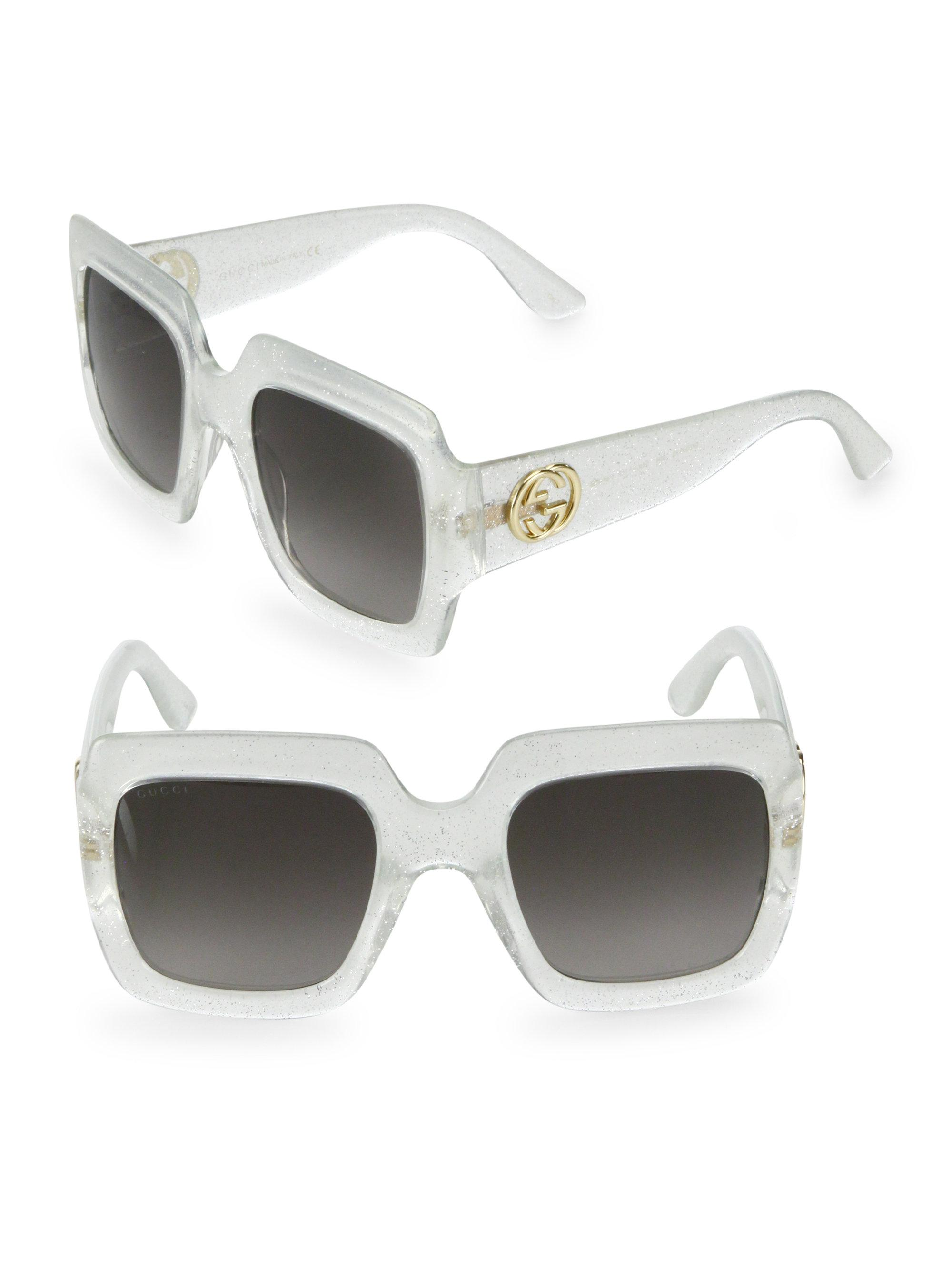 629e4176b7b Lyst - Gucci 54mm Oversized Glitter Square Sunglasses in Metallic