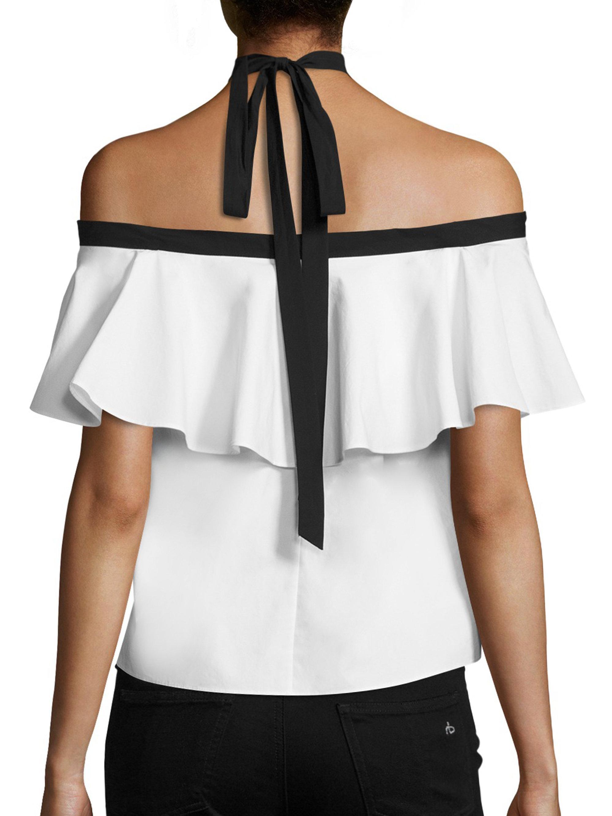 9a342091261279 Alice + Olivia Alyssa Off-the-shoulder Halter Top in White - Lyst