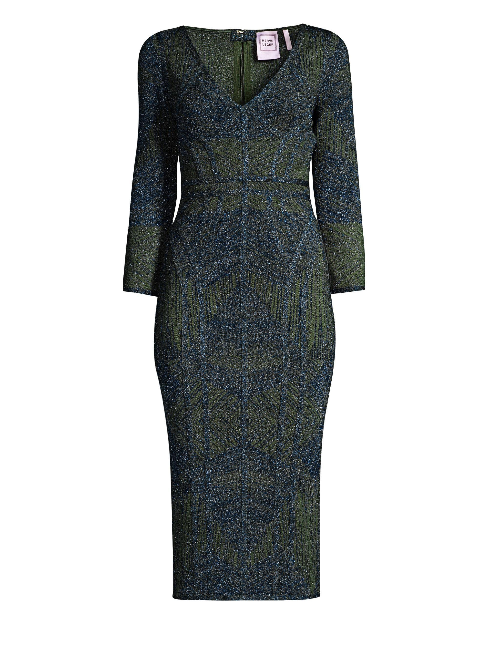 d283ac3a0894 Lyst - Hervé Léger Women s Jacquard Column Bandage Dress - Green ...