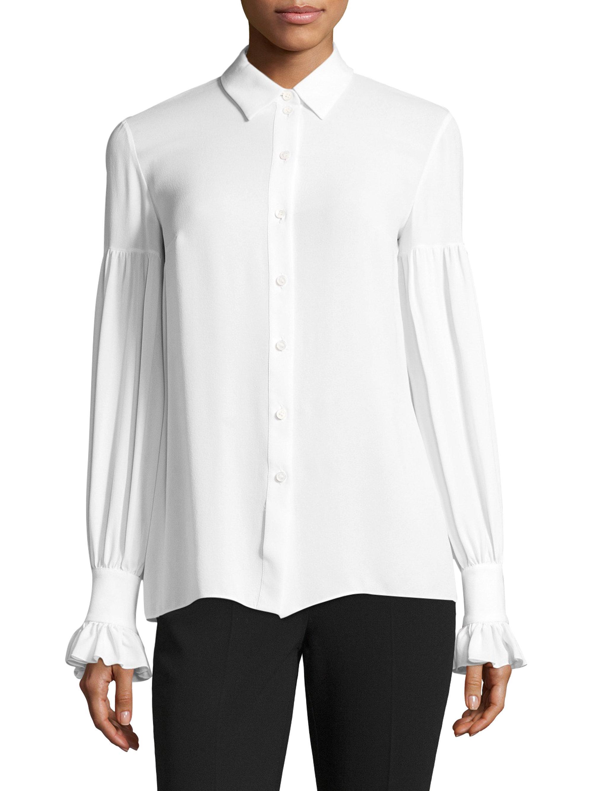 Lyst Michael Kors Silk Gathered Bell Sleeve Silk Button