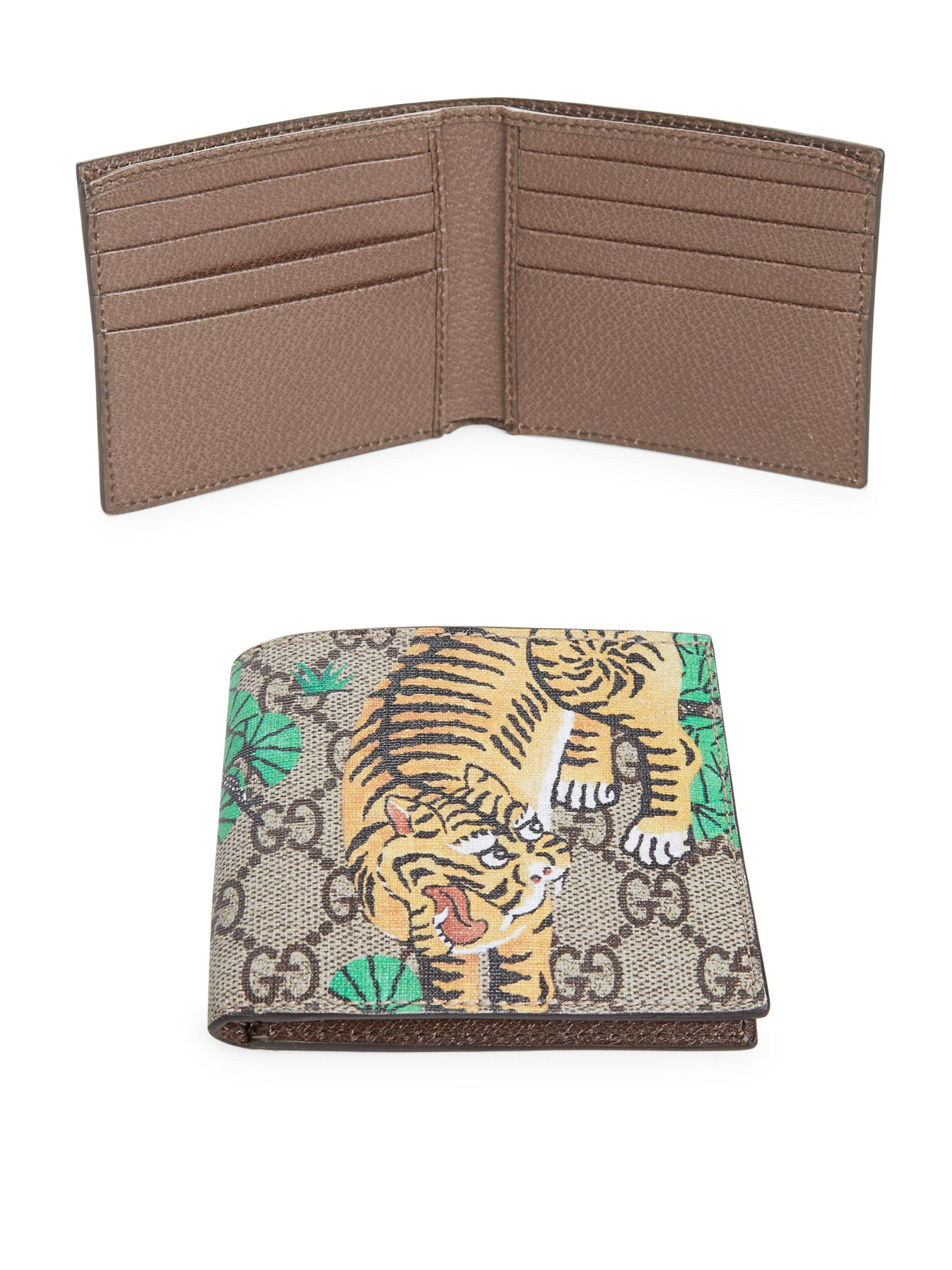 87cfb56a7f23a4 Gucci Gg Supreme Tiger Billfold Wallet in Natural for Men - Lyst