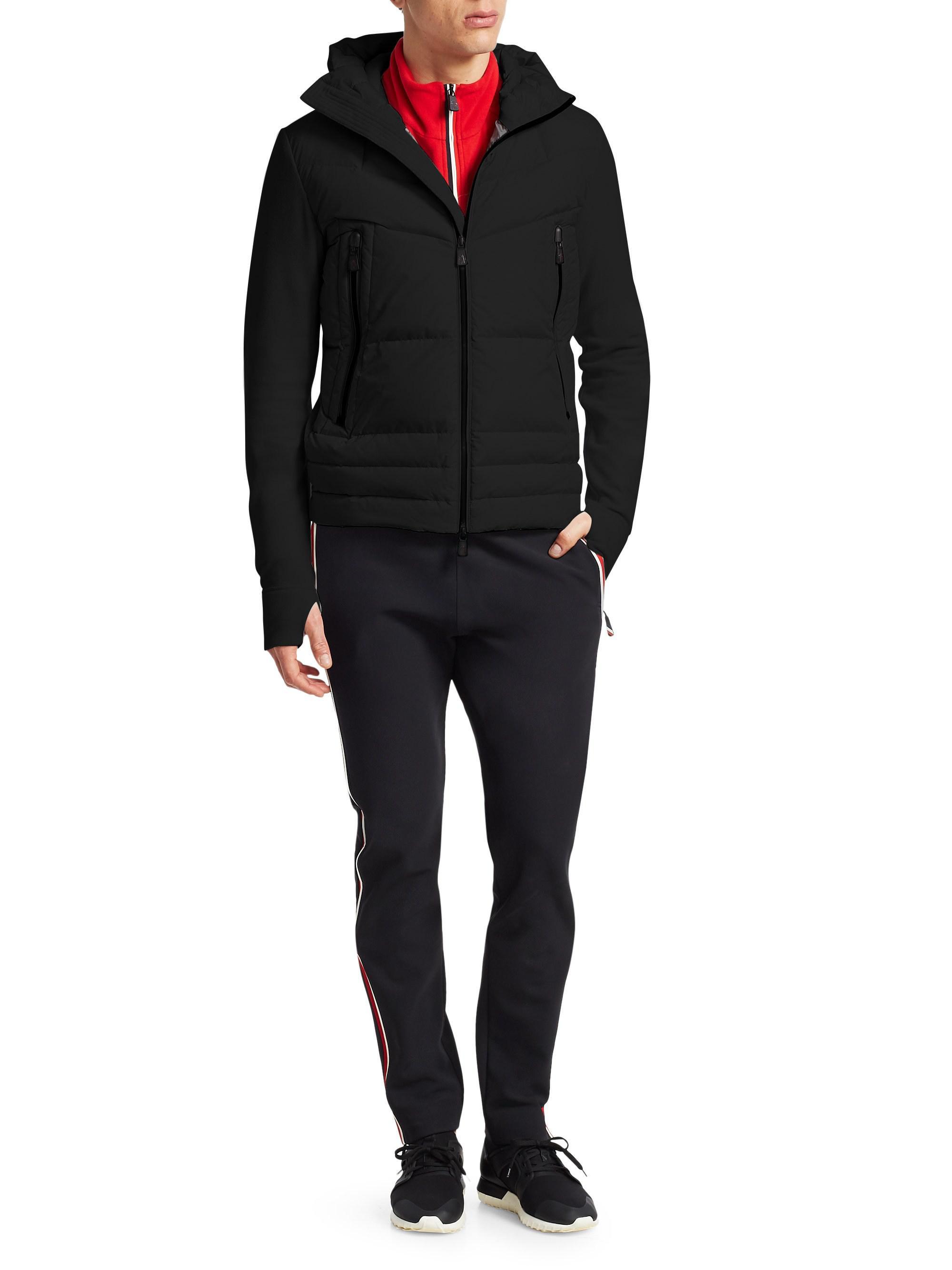 99b1a9173 Lyst - Moncler Hooded Fleece Down Jacket in Black for Men