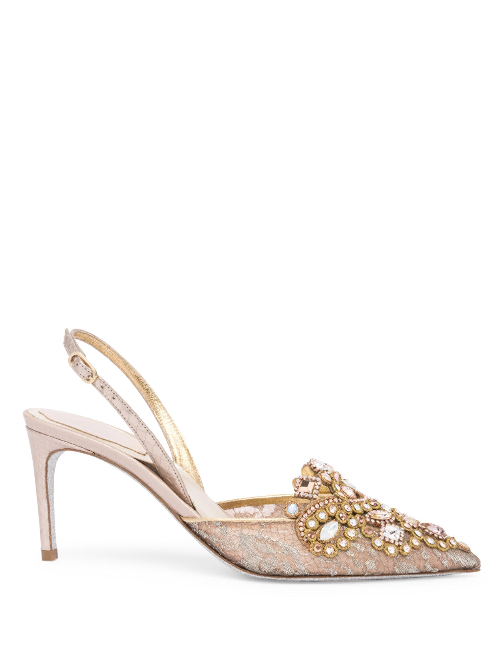 René Caovilla Rene Caovilla Embroidered Slingback Pumps cheap amazing price fast delivery cheap price outlet cheap prices free shipping wholesale price clearance fast delivery M9KiM3VLb