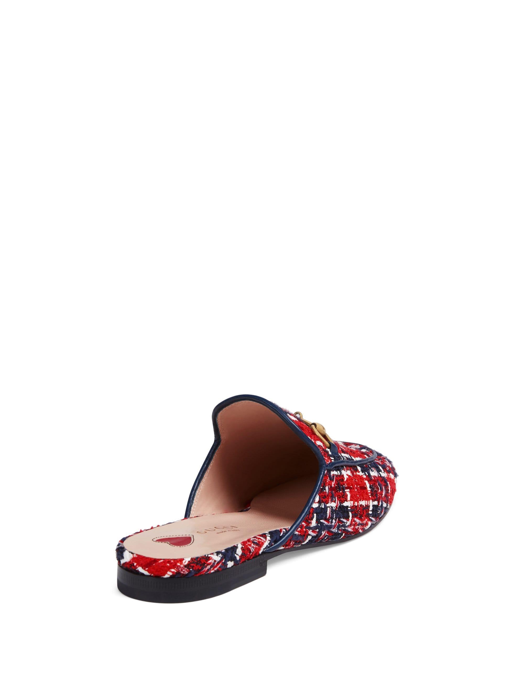 bc8c58e60e1 Gucci Princetown Tweed Check Slipper in Red - Lyst