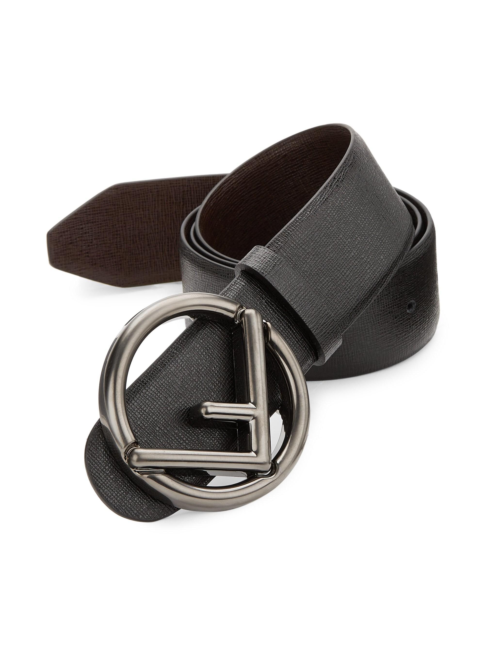 7d3db13df7 Fendi Multicolor Men's Forever Logo Reversible Leather Belt - Black Brown -  Size 95 (38) for men