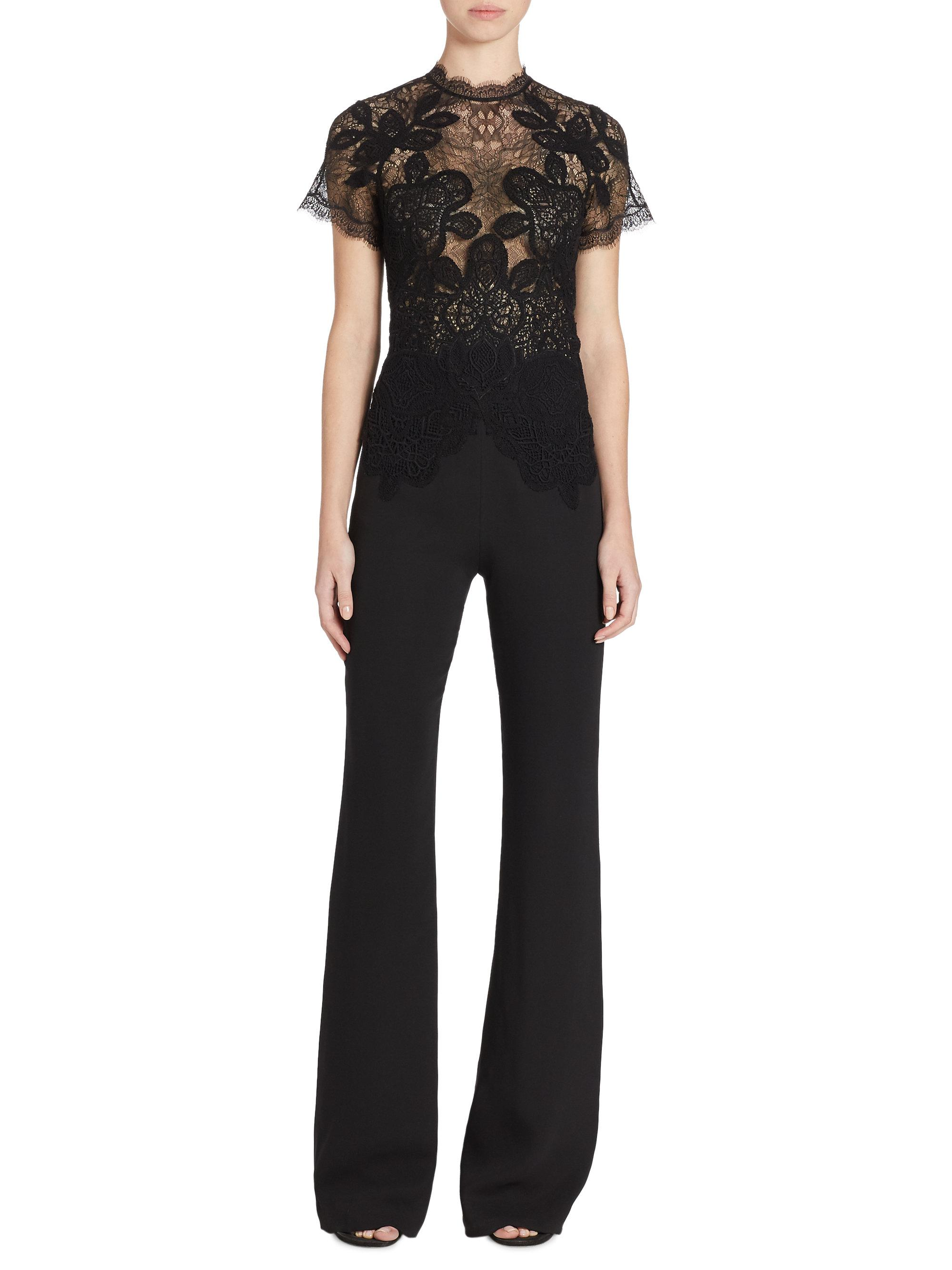 6ce65484943e Lyst - Jonathan Simkhai Short Sleeve Lace Jumpsuit in Black