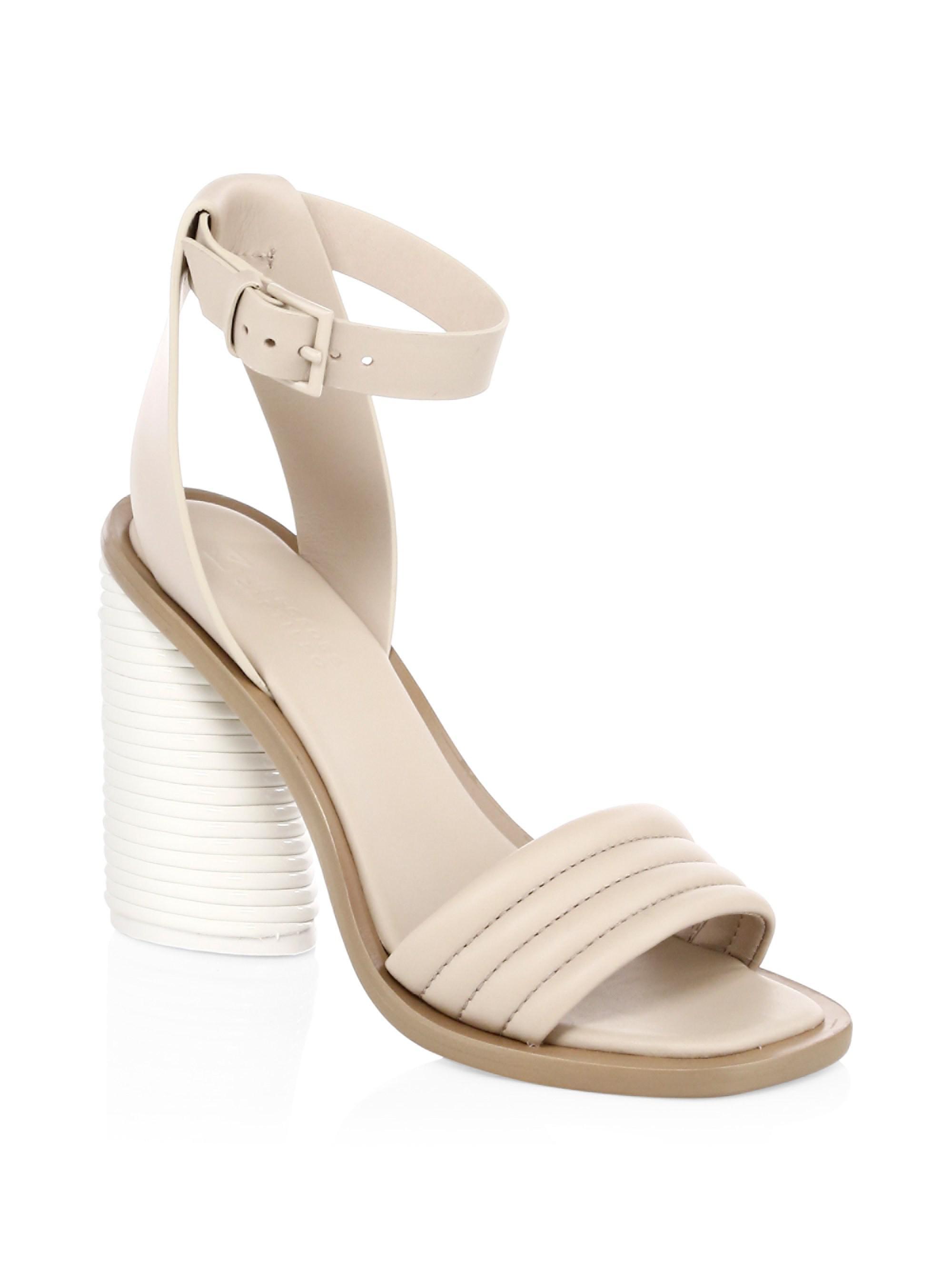 Mercedes Castillo Leather Tonal Banana Heel Slingback Sandals DLQR4