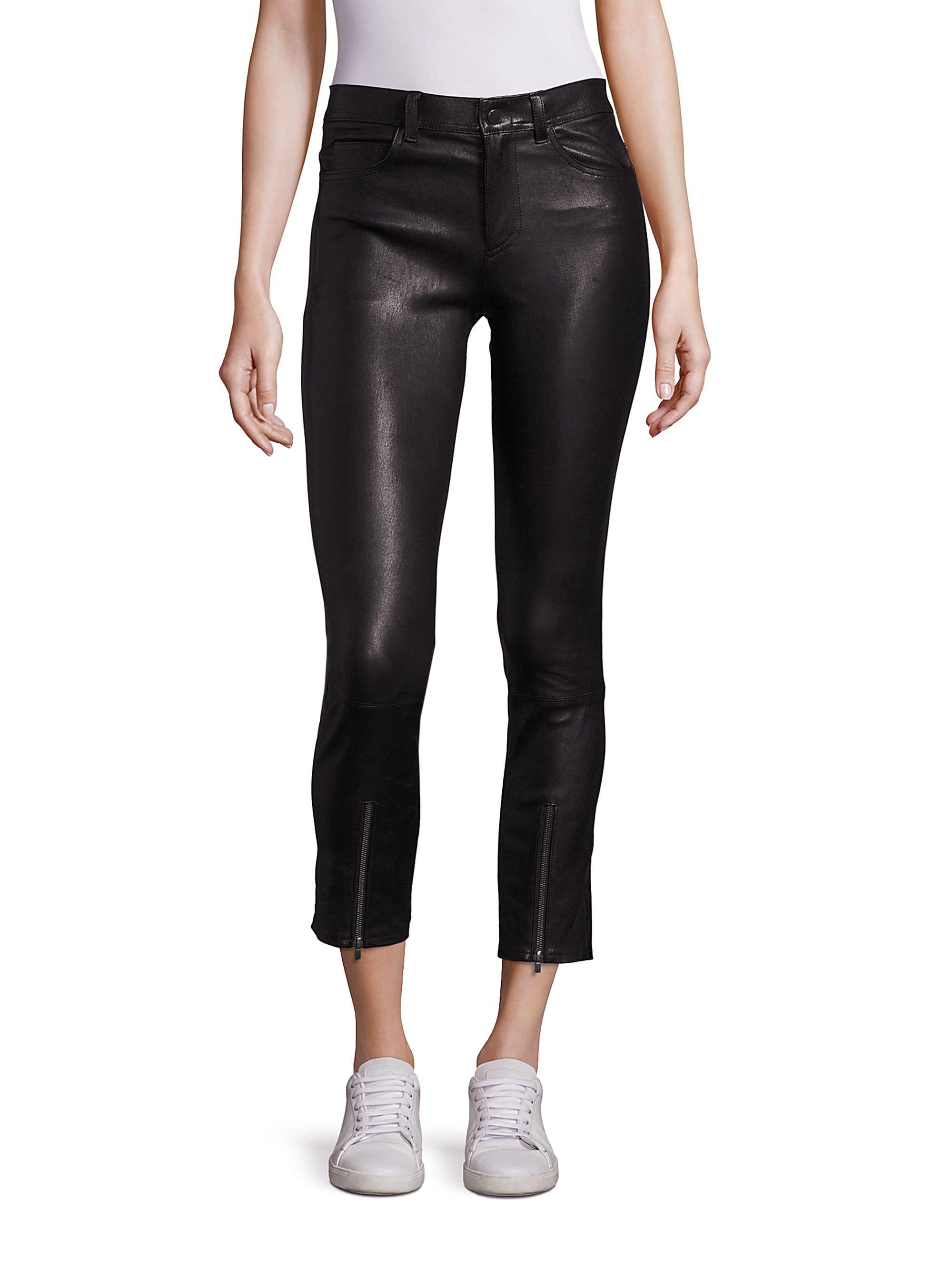 c7186fd1c8a0f5 Lyst - Helmut Lang Women's Zip Cropped Leather Leggings - Black ...