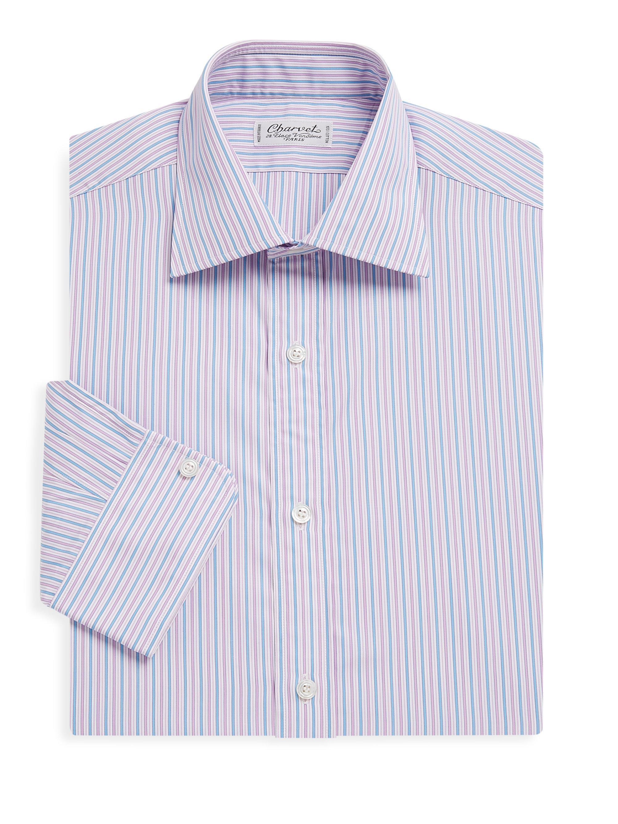 Lyst charvet regular fit dress shirts in pink for men for Regular fit dress shirt