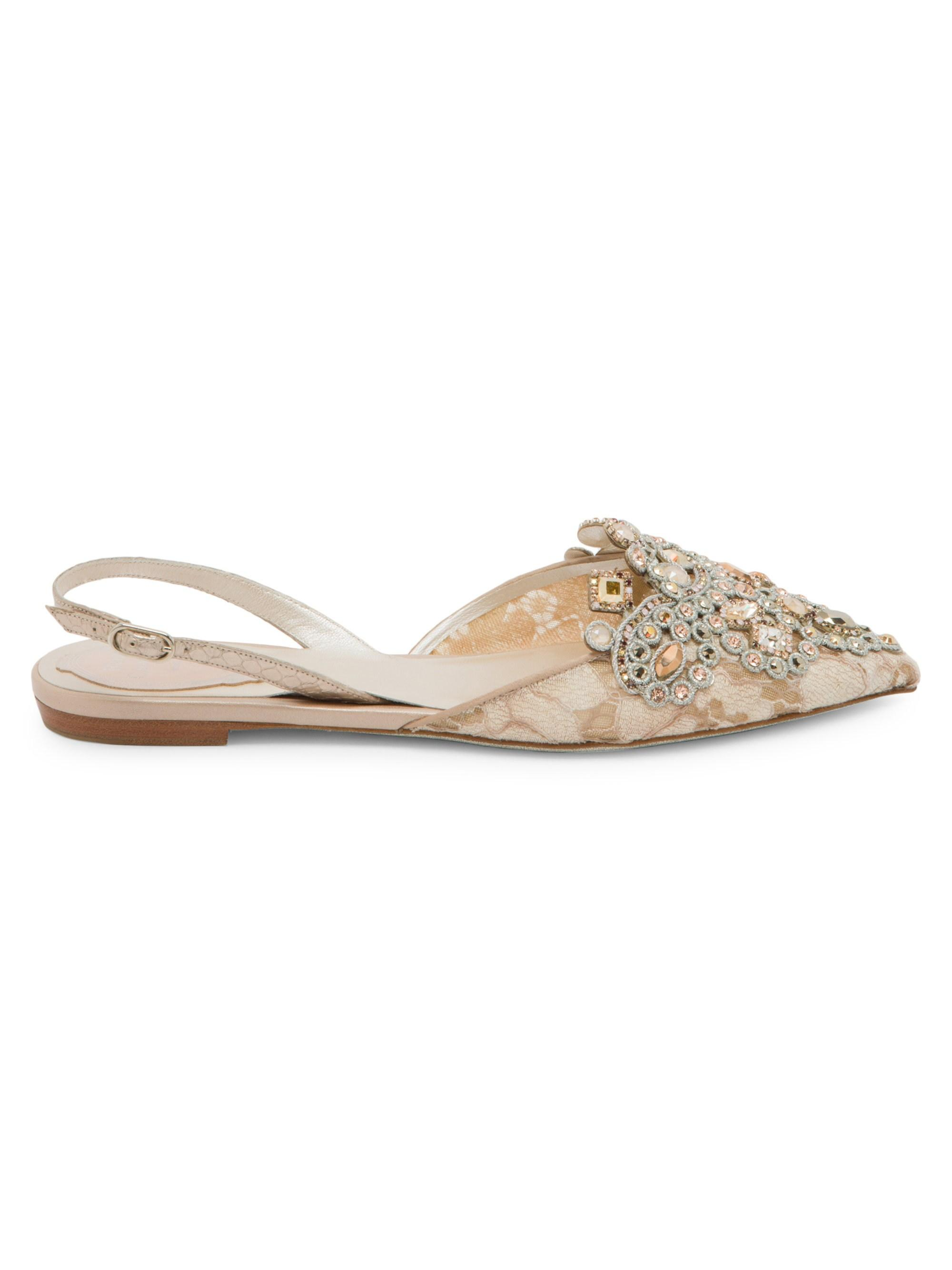 bafab76df Rene Caovilla Women s Multi Stone Slingback Flats - Size 35 (5) - Lyst