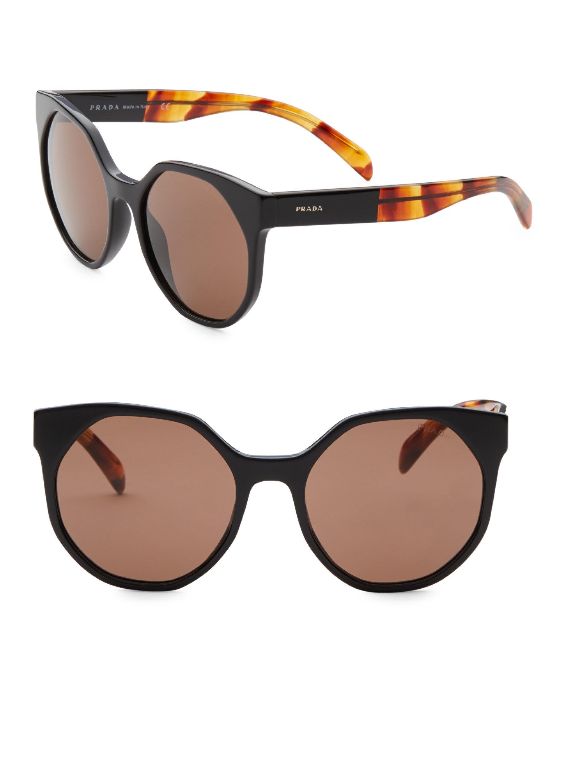 8108265918 ... usa prada multicolor 55mm round cat eye sunglasses lyst. view  fullscreen 9556e 2ee9e