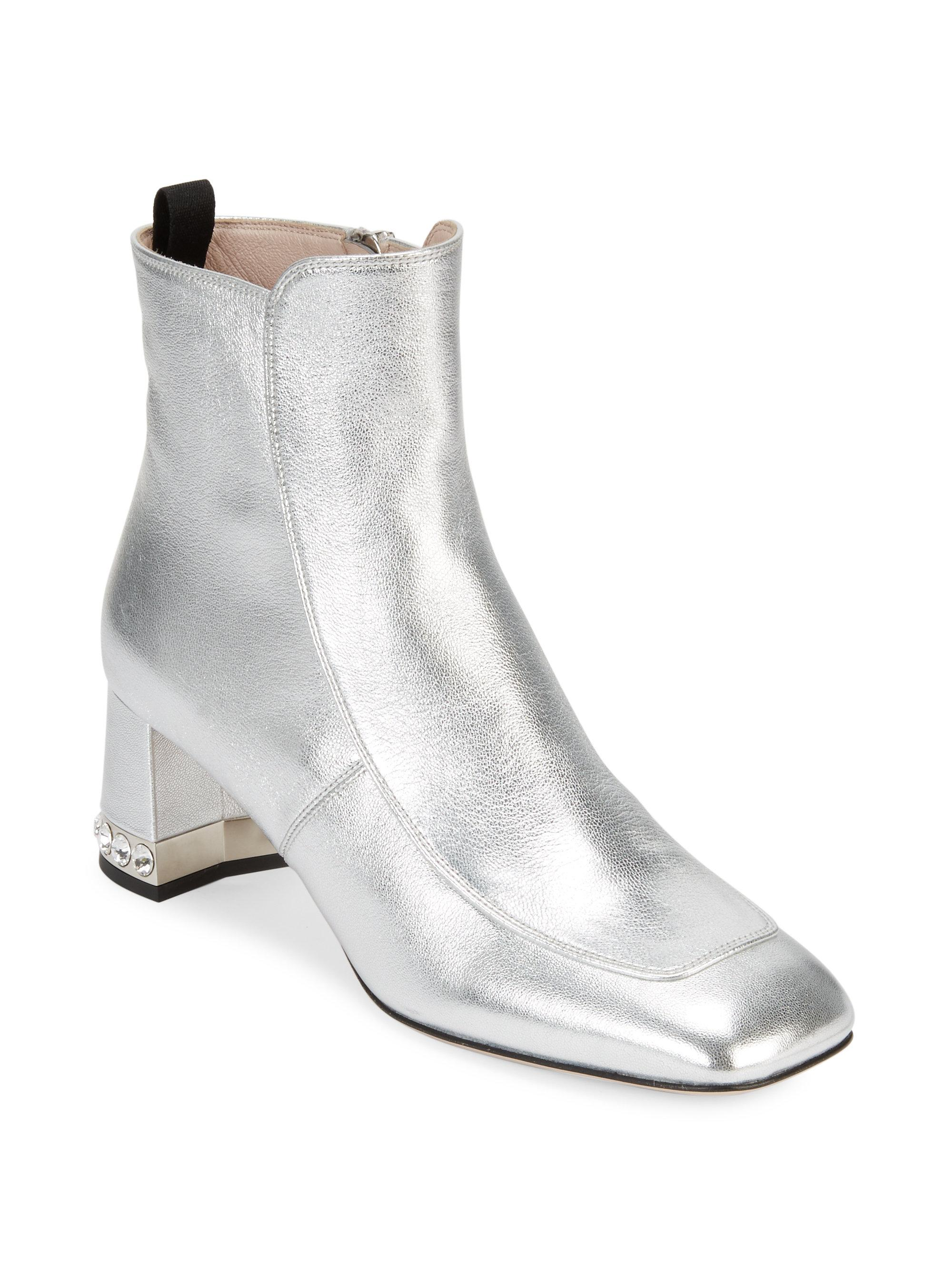 94d0e8022804 Miu Miu Crystal Heel Metallic Booties in Metallic - Lyst