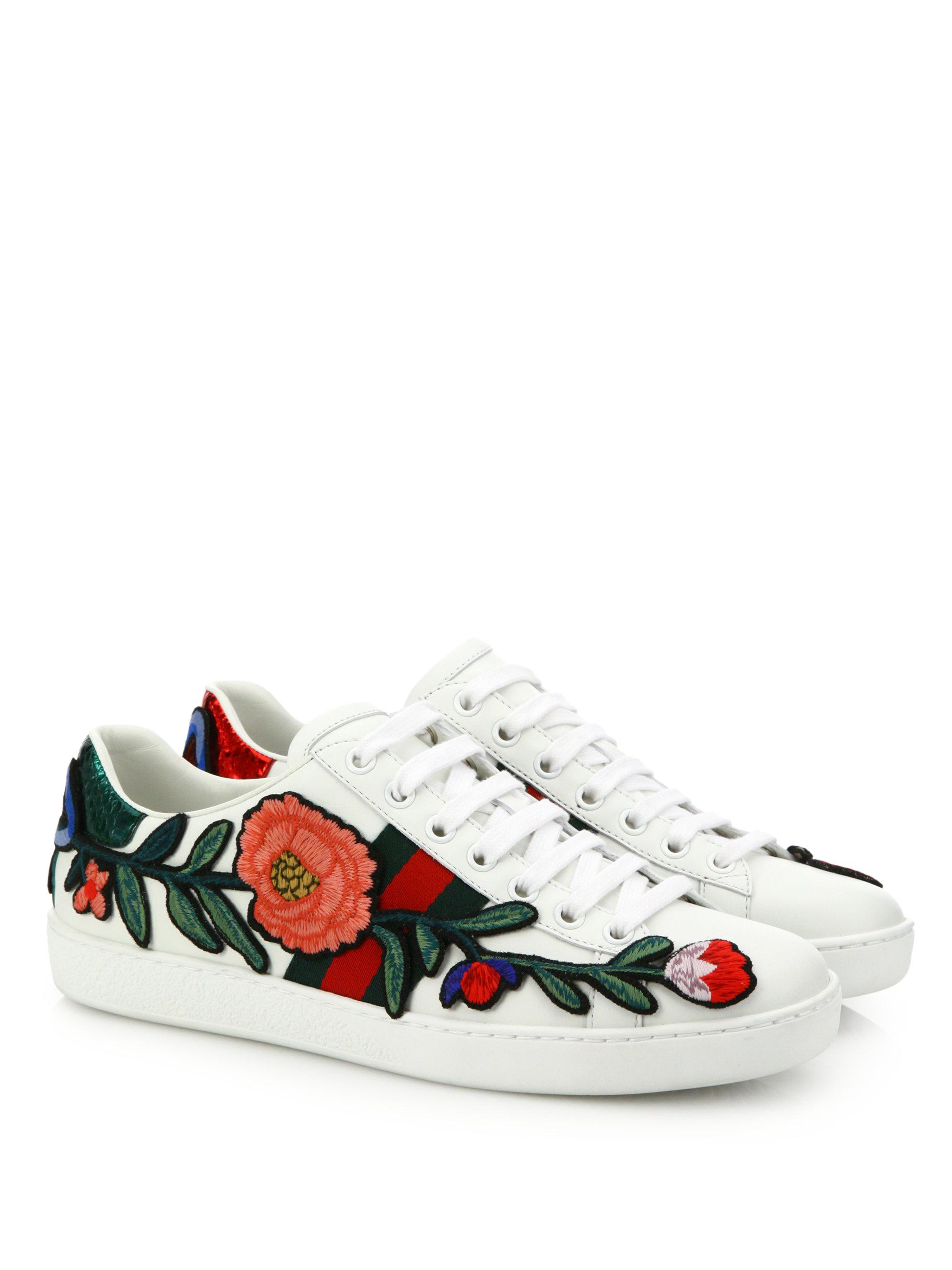 Gucci Leather Ace Embroidered Low-top