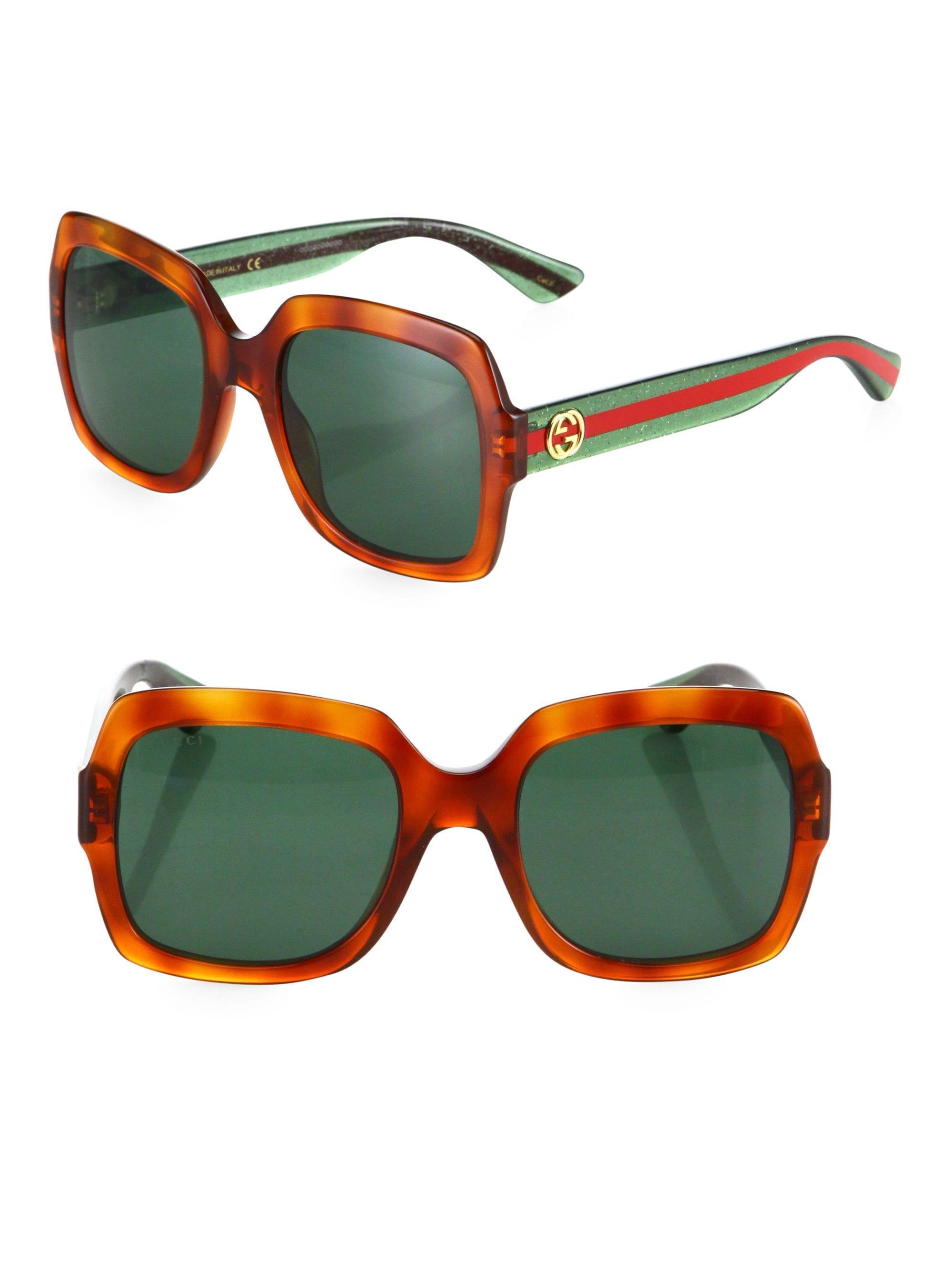 a1f0898110c Lyst - Gucci Women s 54mm Glitter Web Oversized Square Sunglasses ...