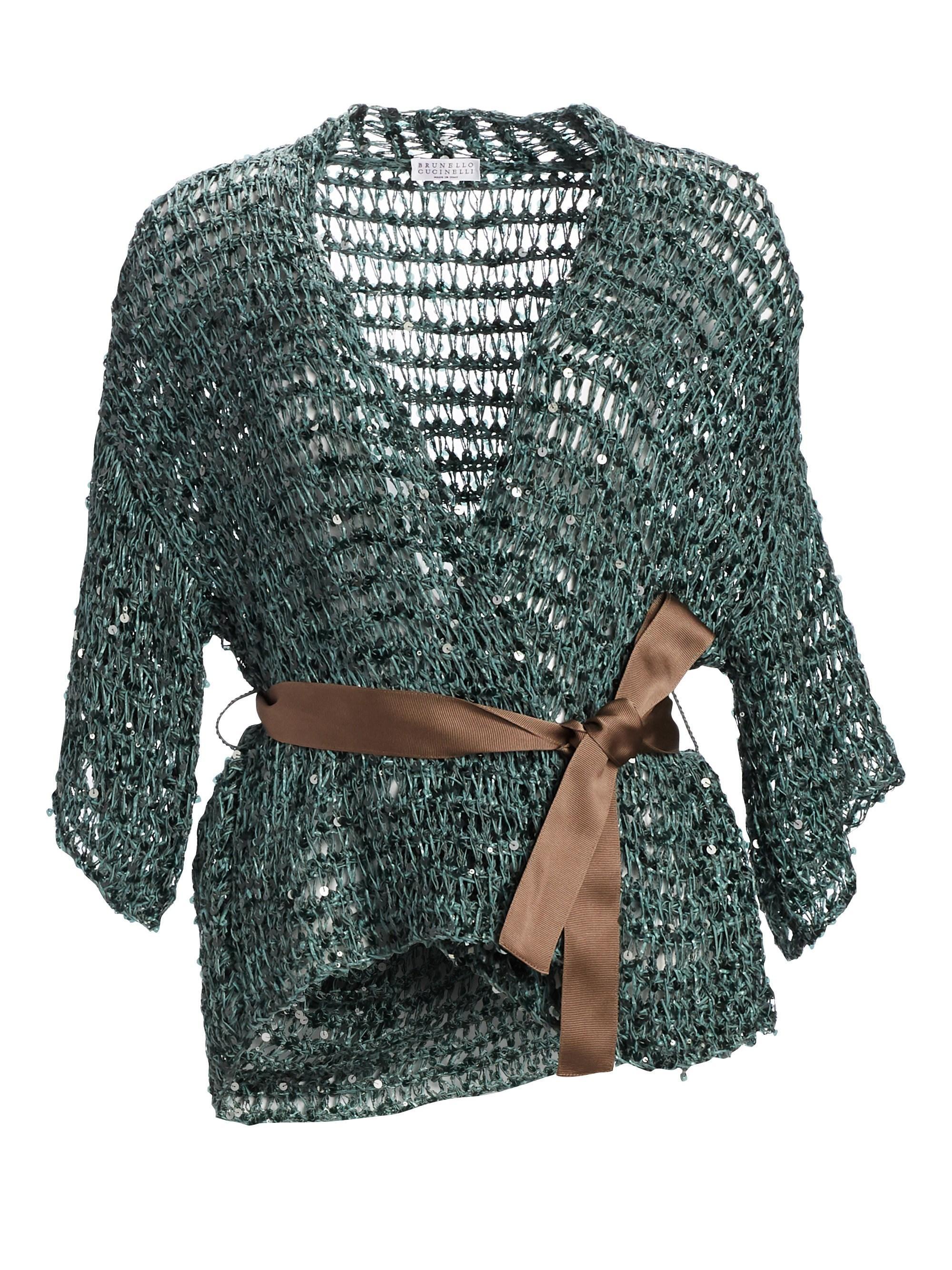 9ca493c9d8 Brunello Cucinelli - Green Paillette Knit Cardigan With Grosgrain Belt -  Lyst. View fullscreen