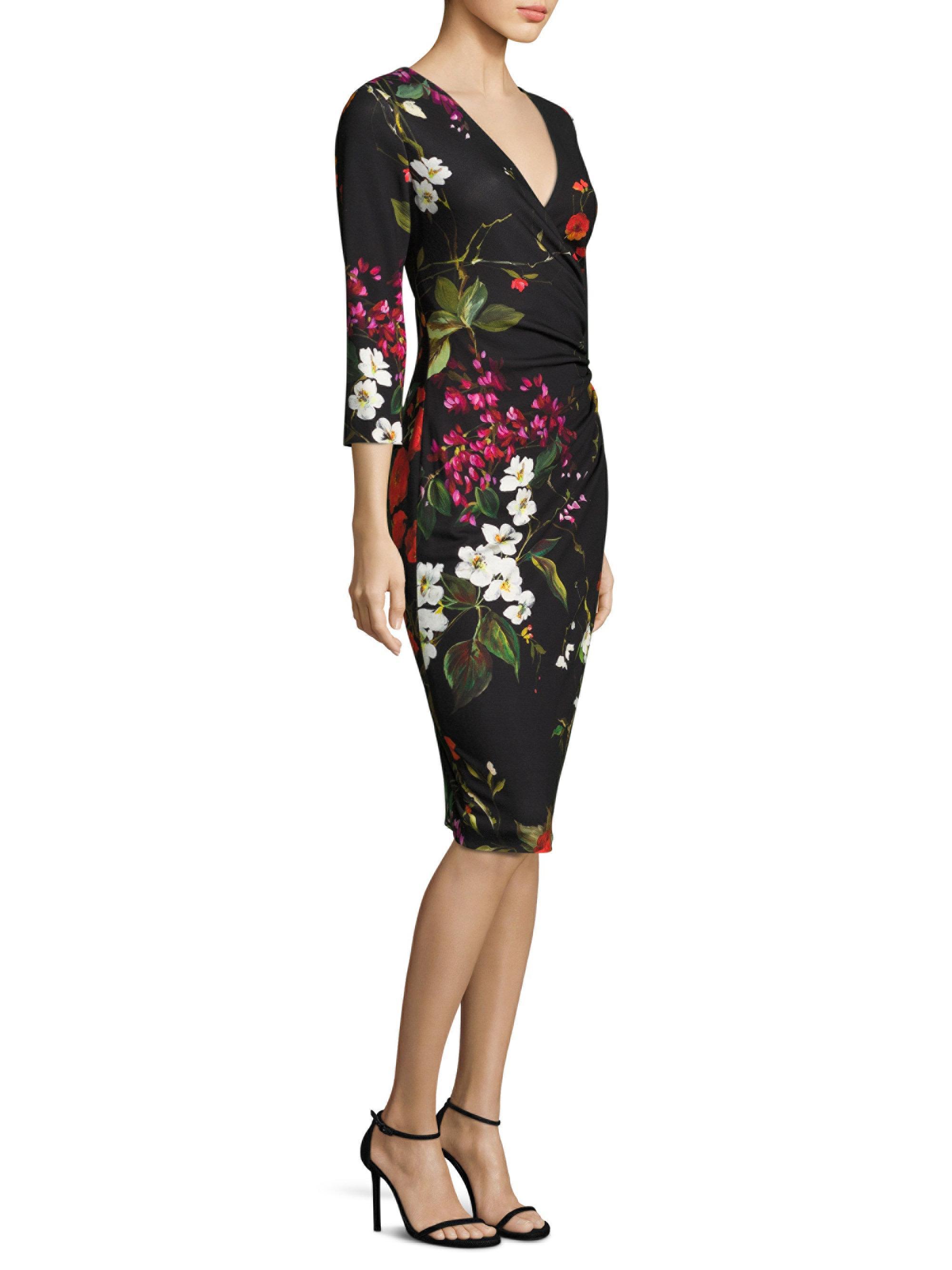 441f441c109b Lyst - ESCADA Dimolas Floral-print Jersey Faux-wrap Dress in Black