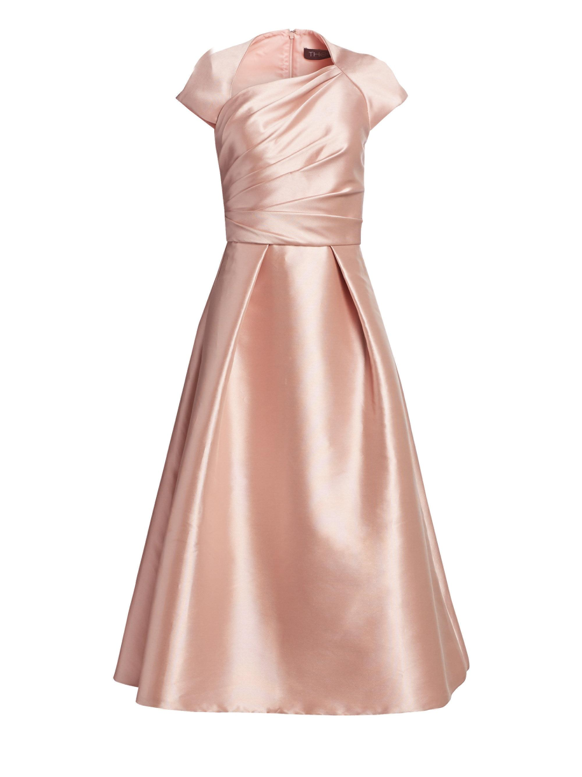 fe84d97dae THEIA Women s Draped-bodice Tea-length Dress - Blush in Pink - Lyst