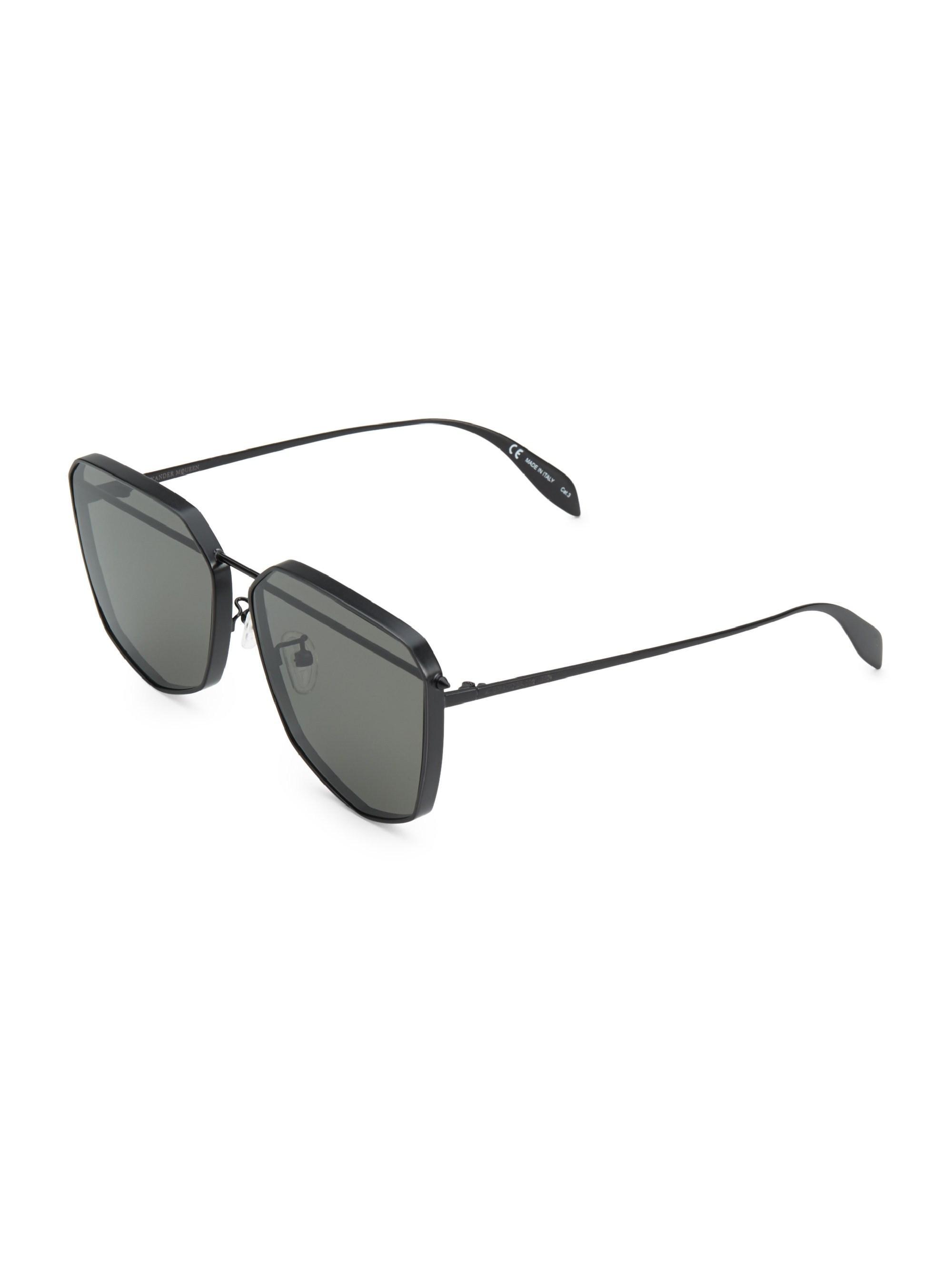 068b2e06981e Alexander McQueen - Men s 61mm Black Geometric Sunglasses - Black for Men -  Lyst. View fullscreen