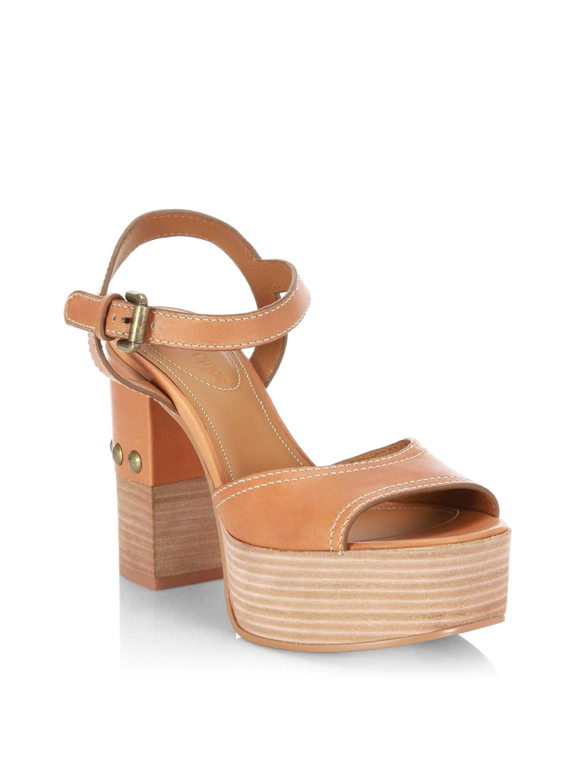 See by Chloé Leather Platform Sandals outlet pictures J7FDYaY