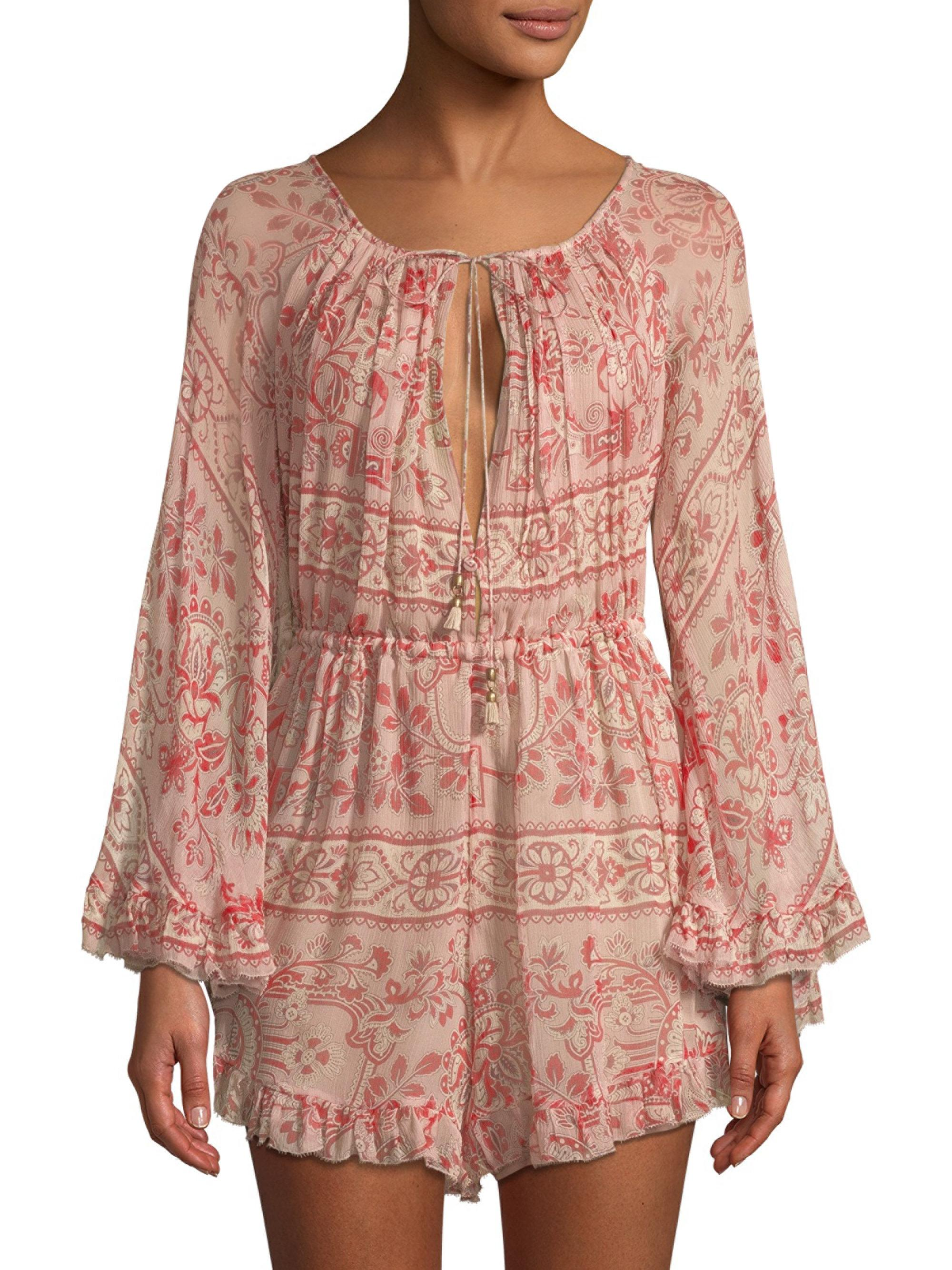 3a92504bab7 Zimmermann Castile Flared Playsuit in Pink - Lyst