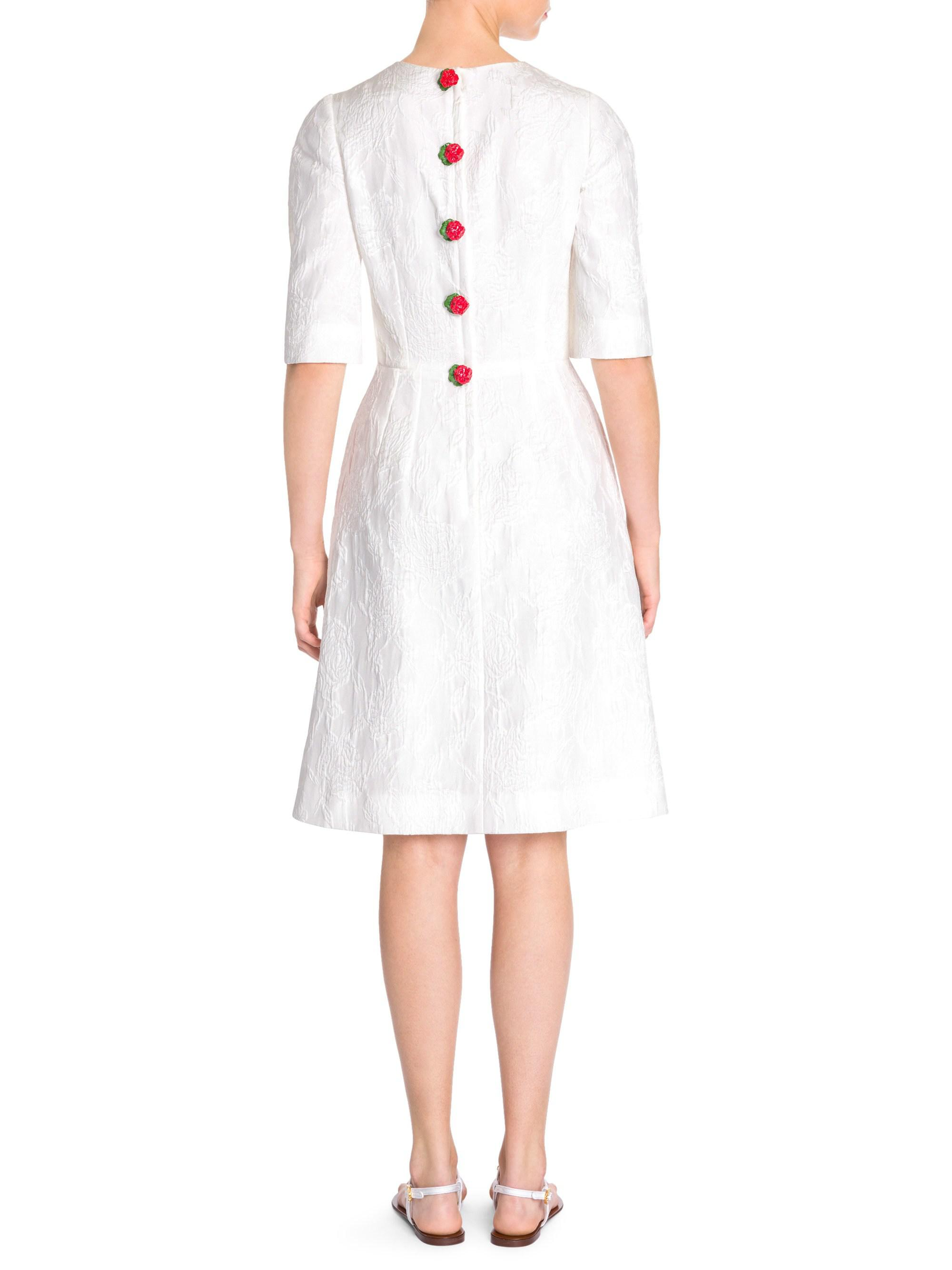 40d41069b23 Lyst - Dolce   Gabbana Jacquard Rose Button Dress in White