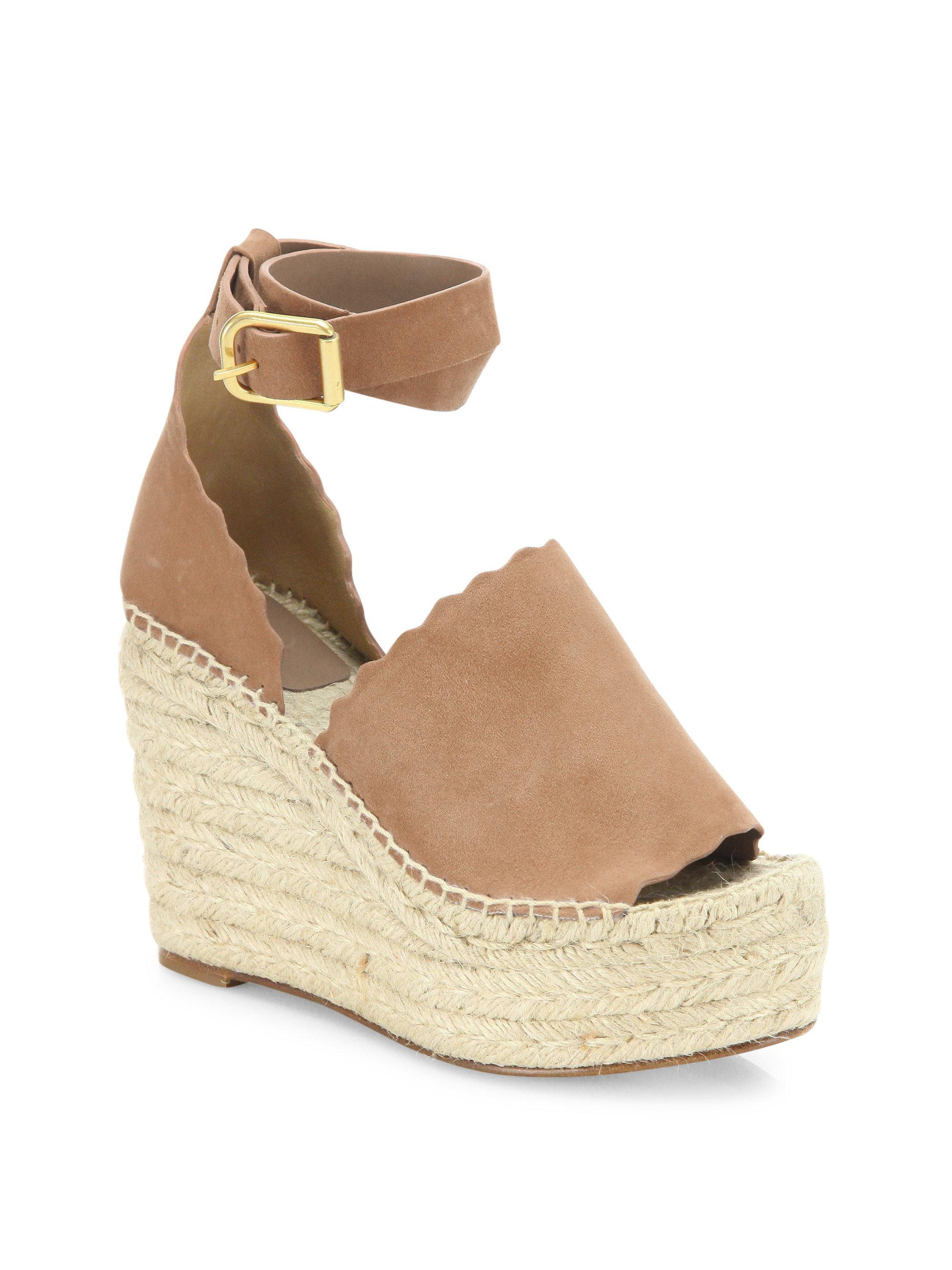 Chlo 233 Lauren Suede Ankle Strap Espadrille Wedge Sandals In