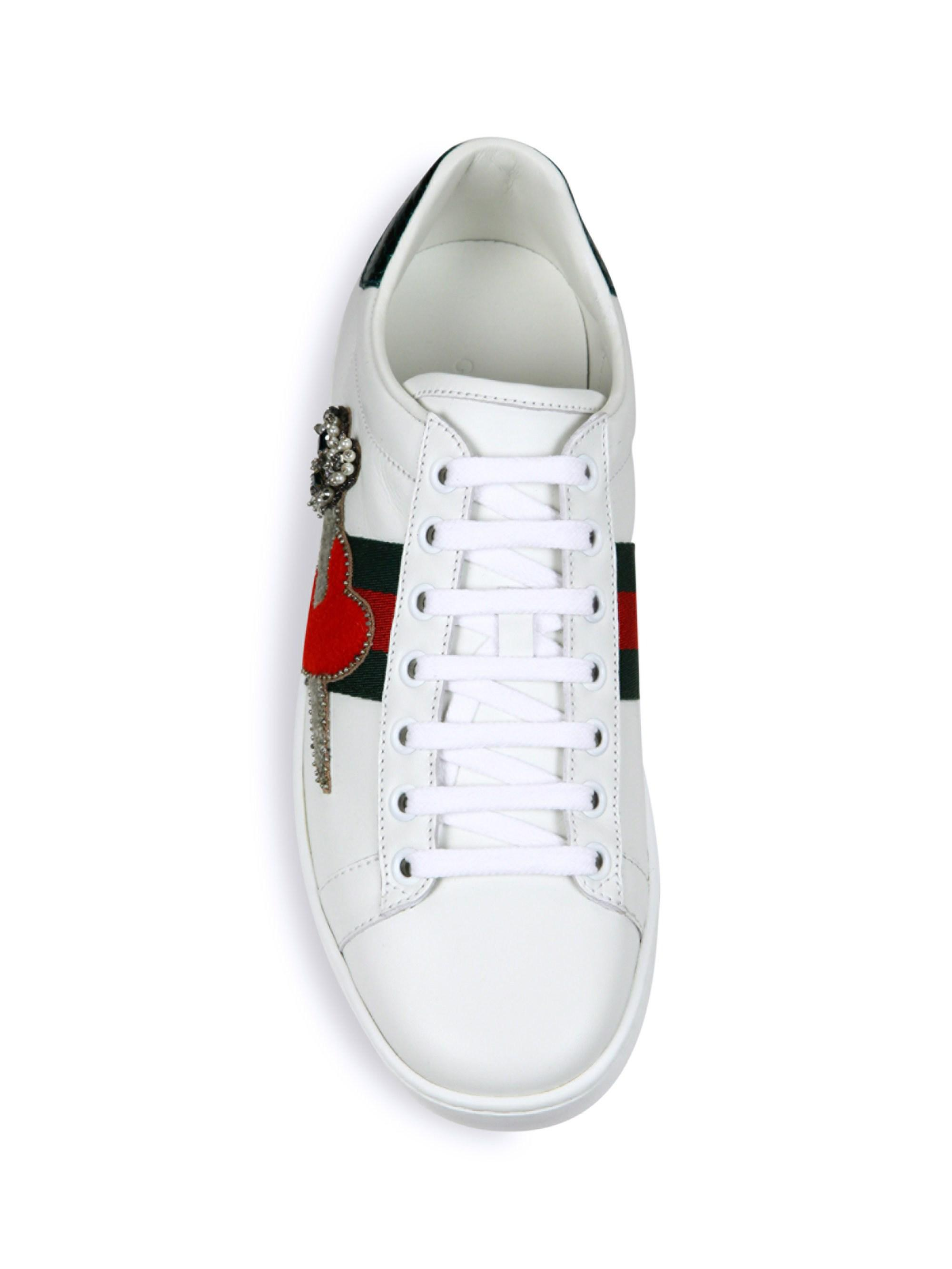dbe7ccd7336 Lyst - Gucci Women s New Ace Pierced Heart Leather Sneakers - White ...