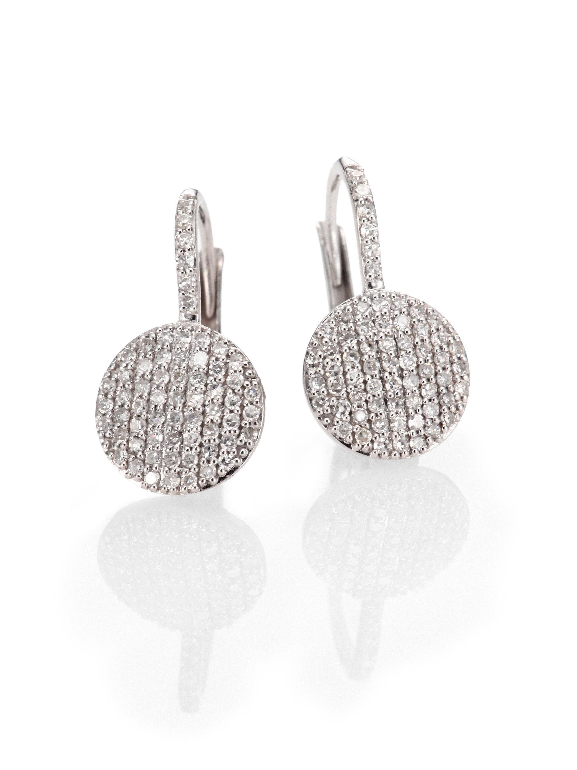 Phillips House Diamond & 14k White Gold Disc Drop Earrings in