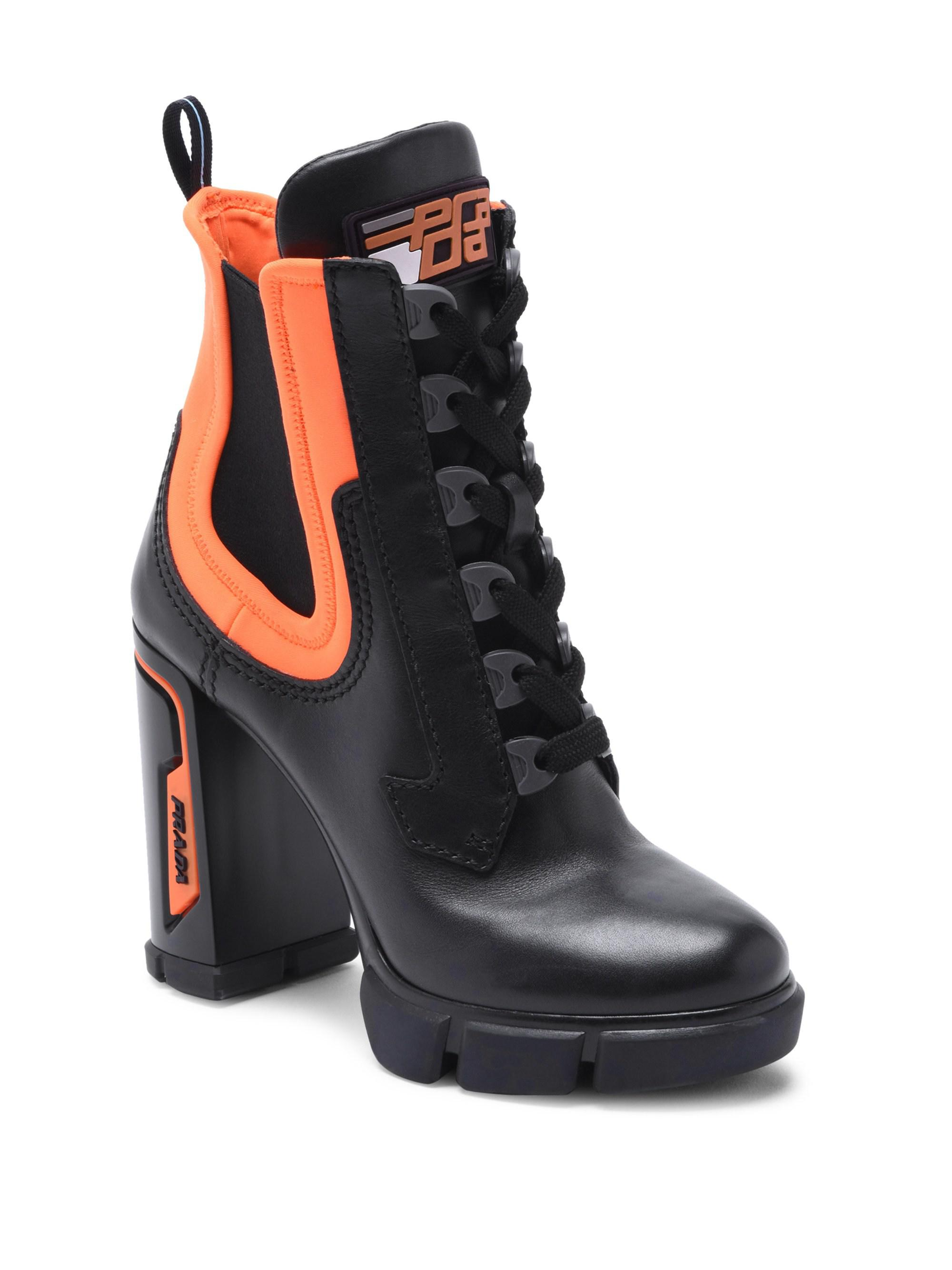 Prada Leather Chunky Lace-up Boots in