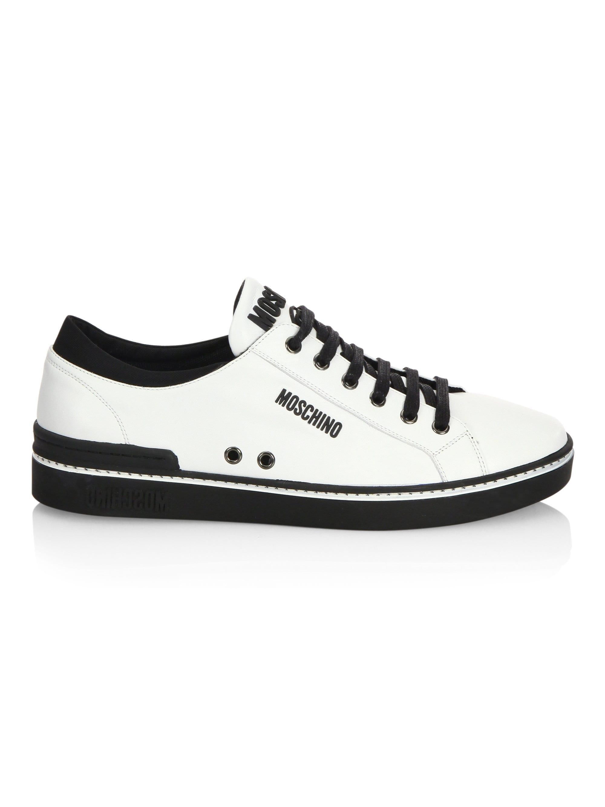 ddd3ea20b Moschino White Men's Contrast Leather Low-top Sneakers - Black - Size 46  (13) for men