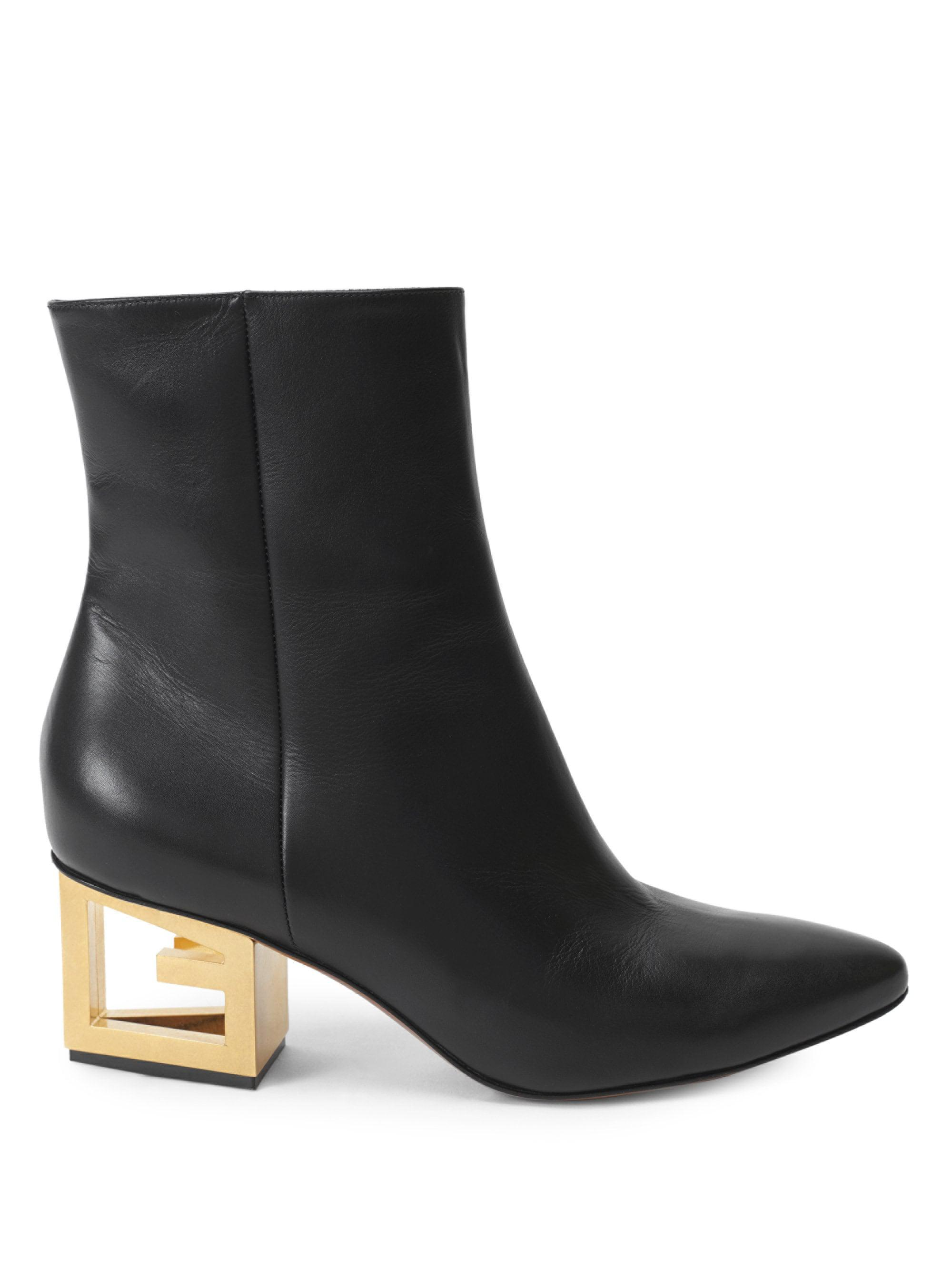 Givenchy Logo-heel Leather Ankle Boots