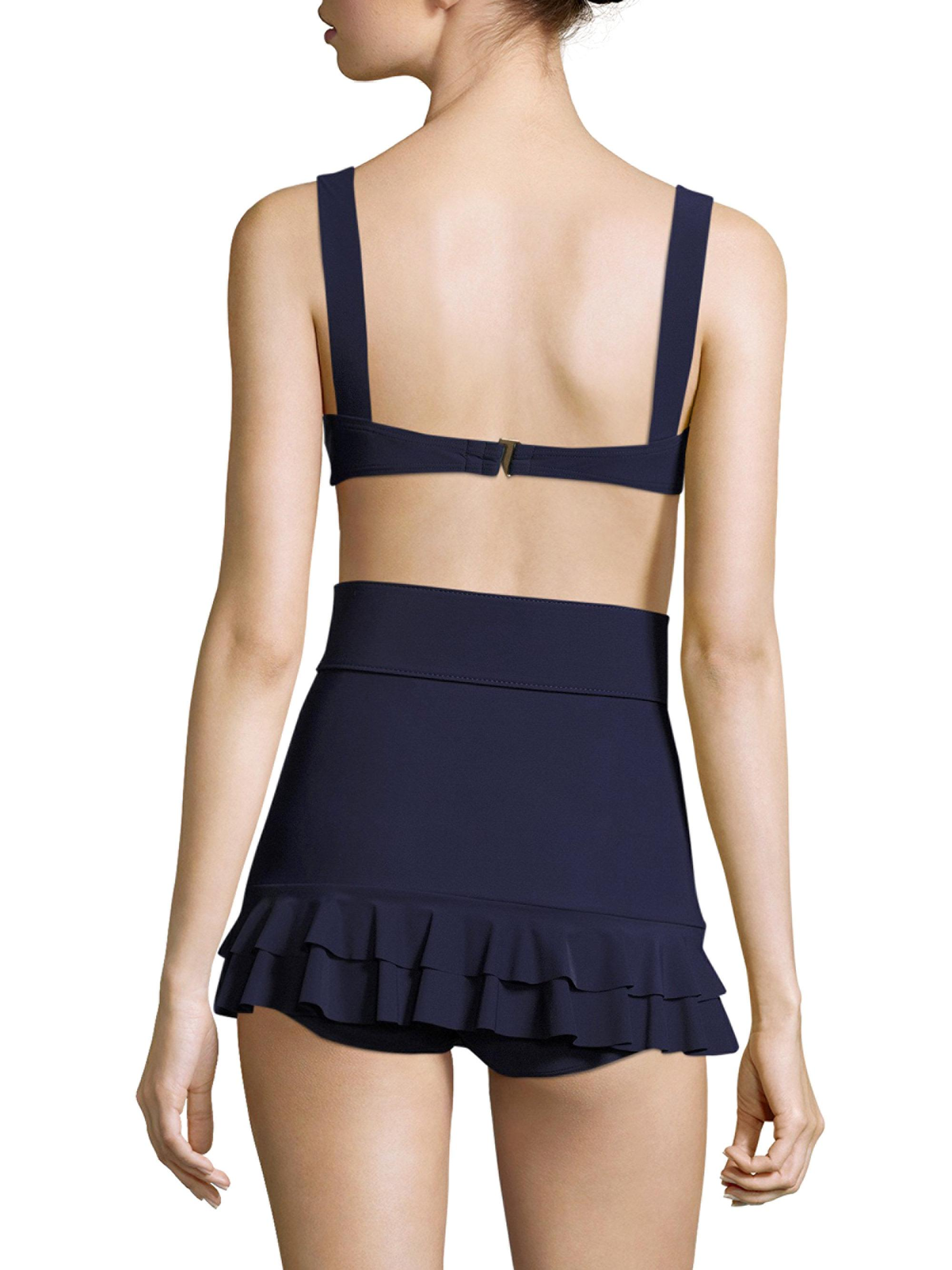 faf476bc5d Michael Kors Two-piece Belted Bikini in Blue - Lyst