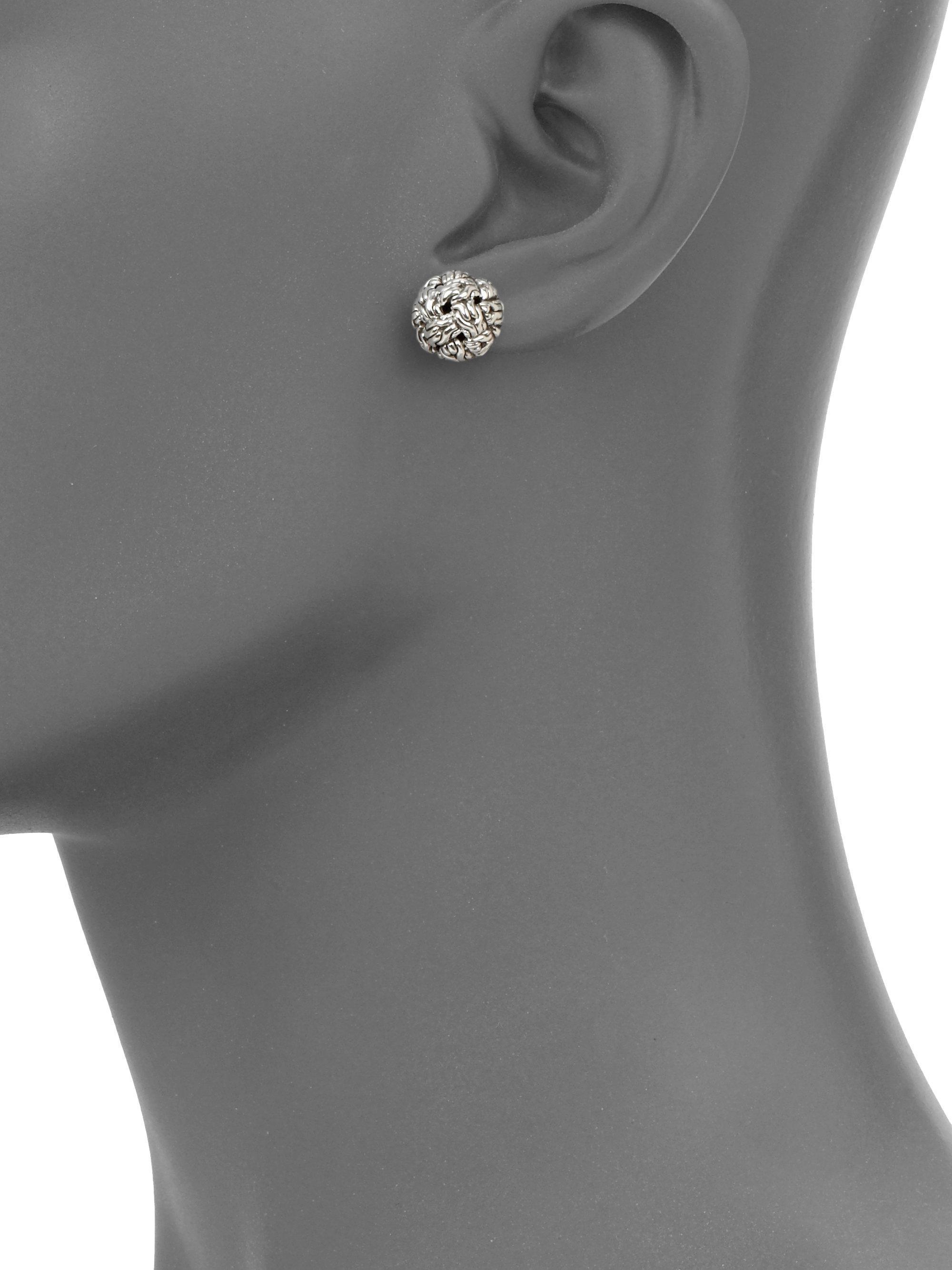 John Hardy Classic Chain Silver Knot Stud Earrings uNscM