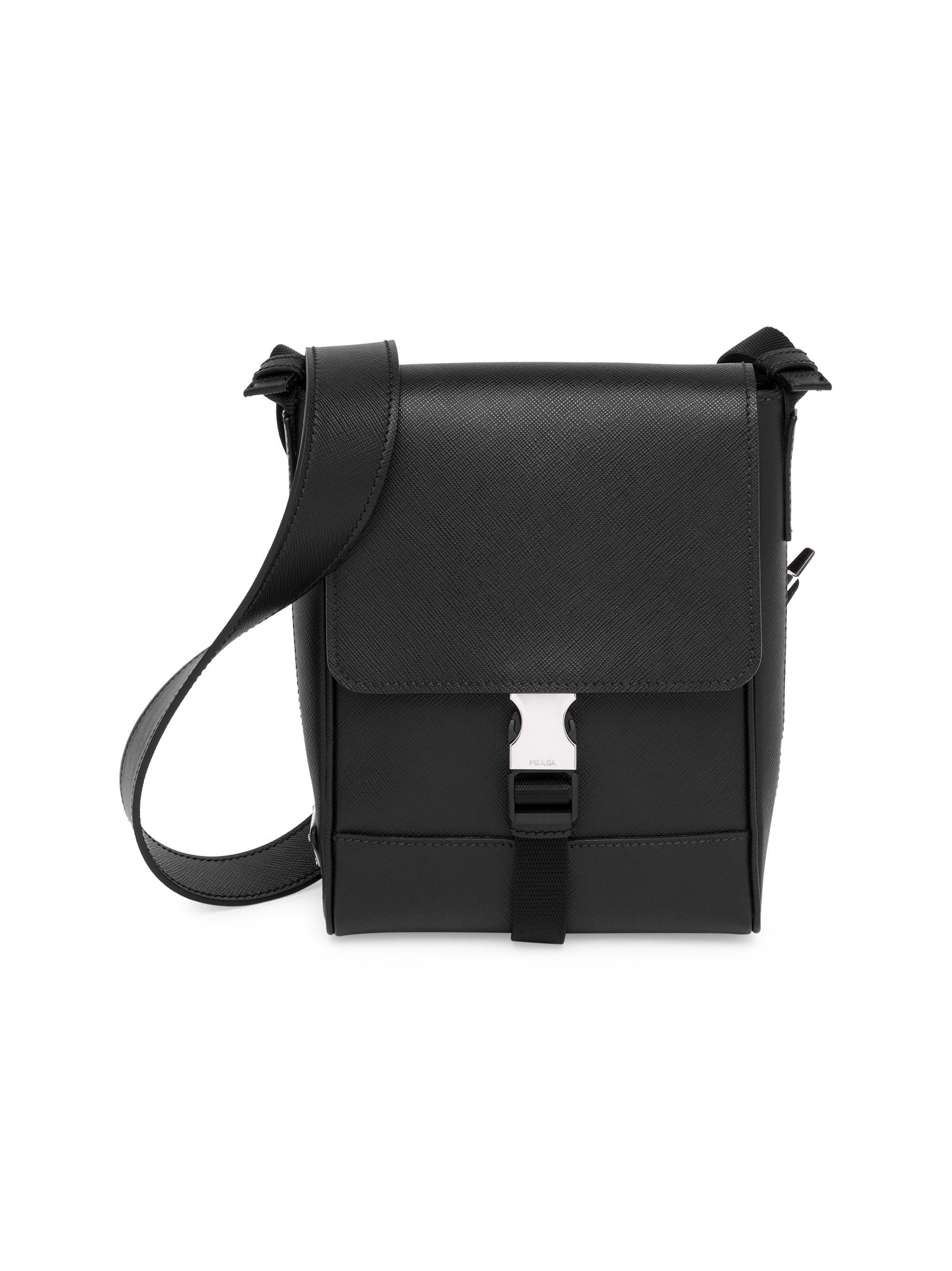 Lyst - Prada Men s Saffiano Leather Travel Crossbody Bag - Black in ... 3391e89425eaf