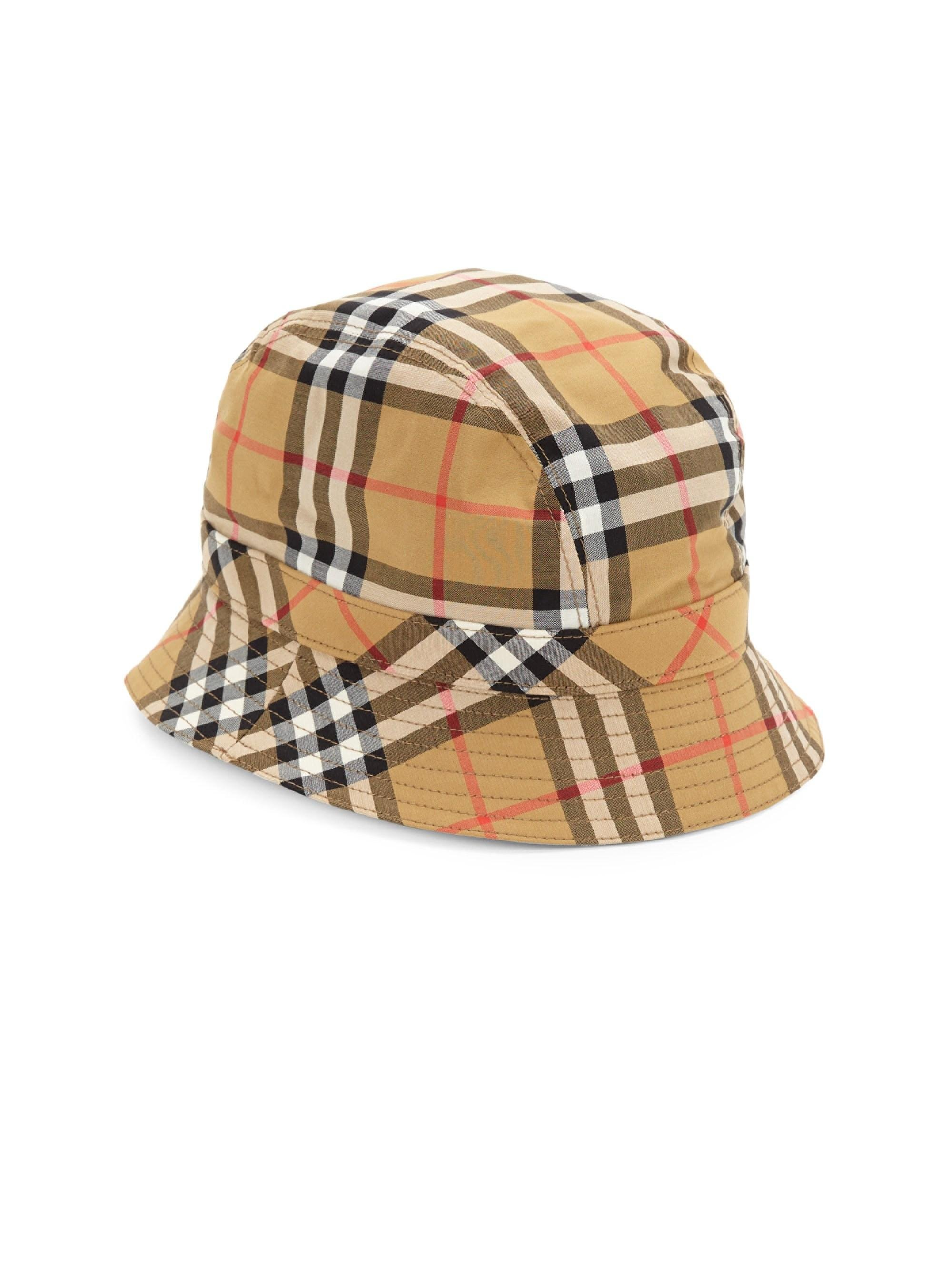 3cf6a358408 Burberry Women s Rainbow Check Bucket Hat - Antique Yellow - Size ...