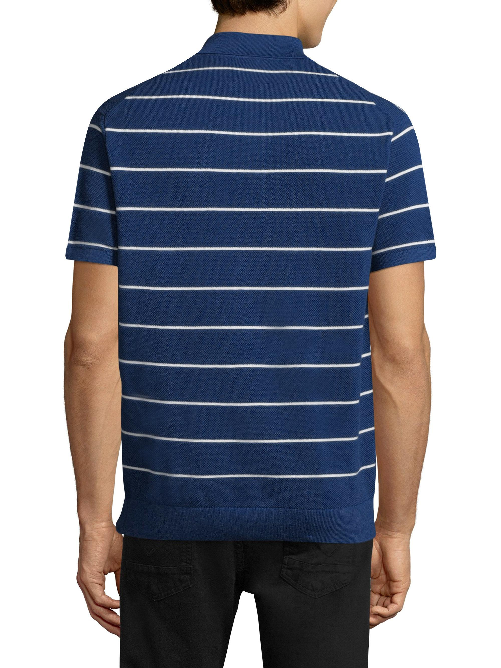 Lacoste Mens Short Sleeve Heritage France Strip Pique//Jersey Sweater AH4542