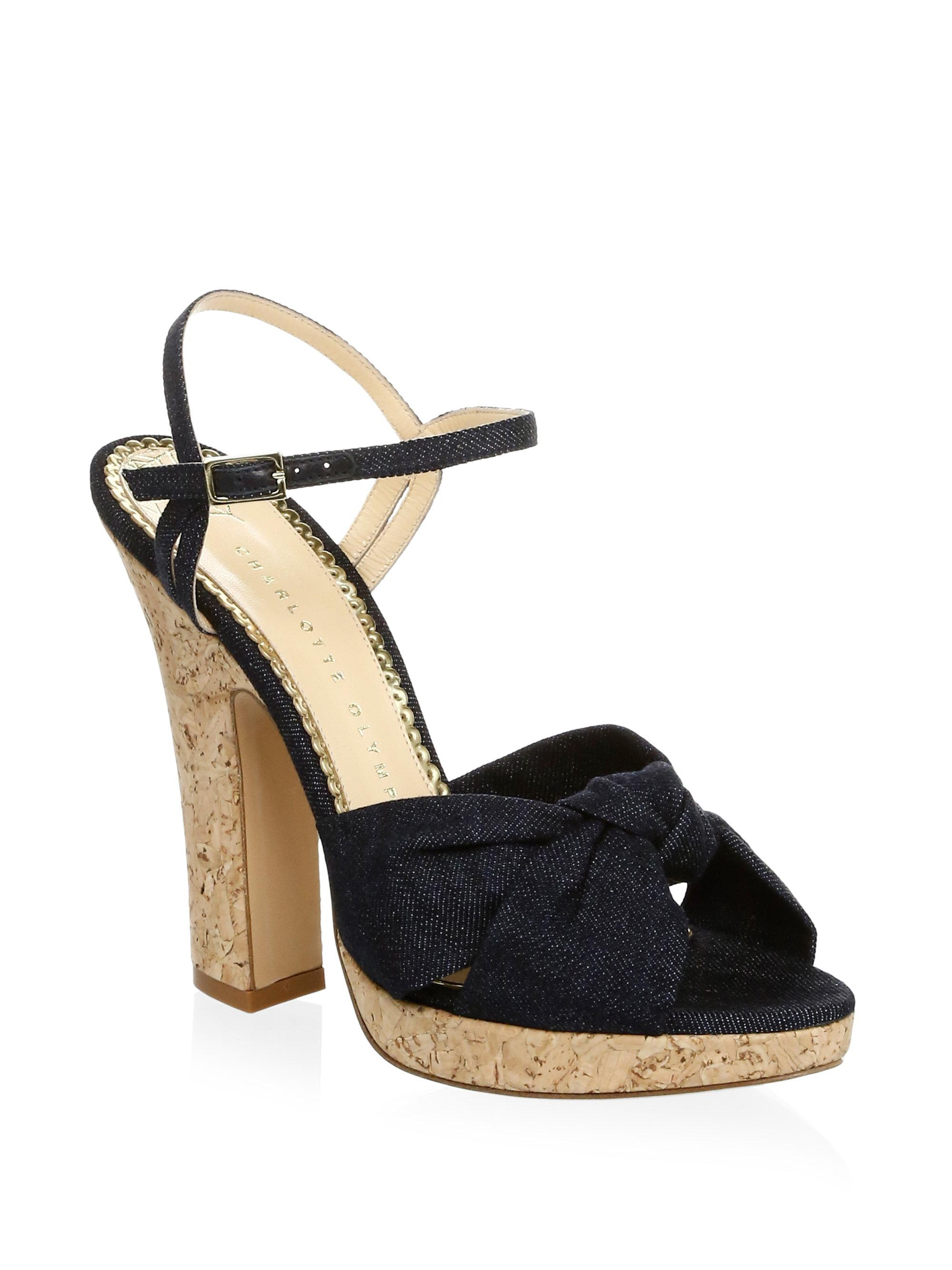 Charlotte Olympia Denim Ankle-Strap Sandals