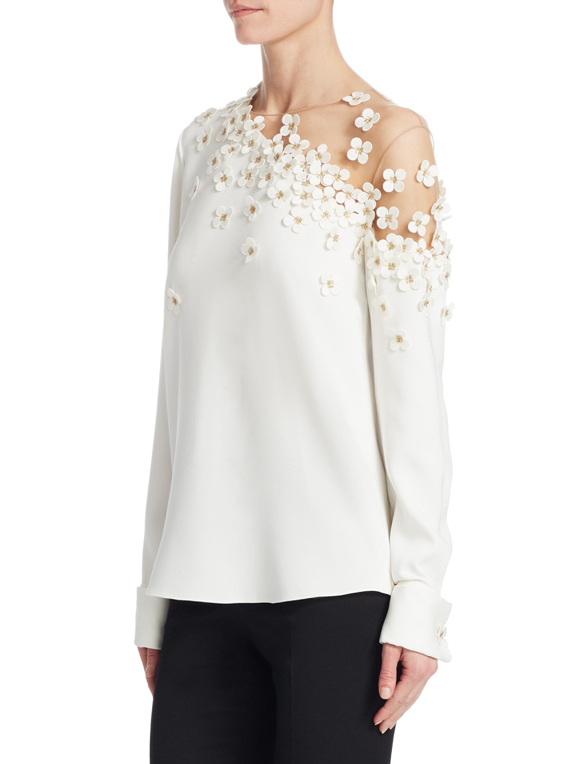 3b81583286230d Lyst - Oscar de la Renta Illusion One-shoulder Silk Blouse in White