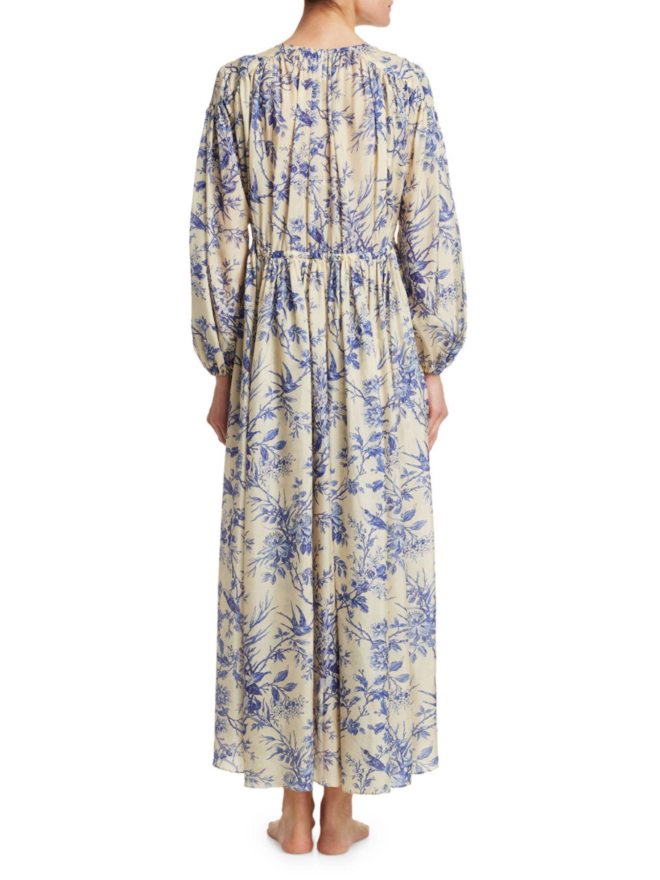 Zimmermann Ladies V Neck Corset Floral Printing Puff Sleeve Splicing Maxi Dress