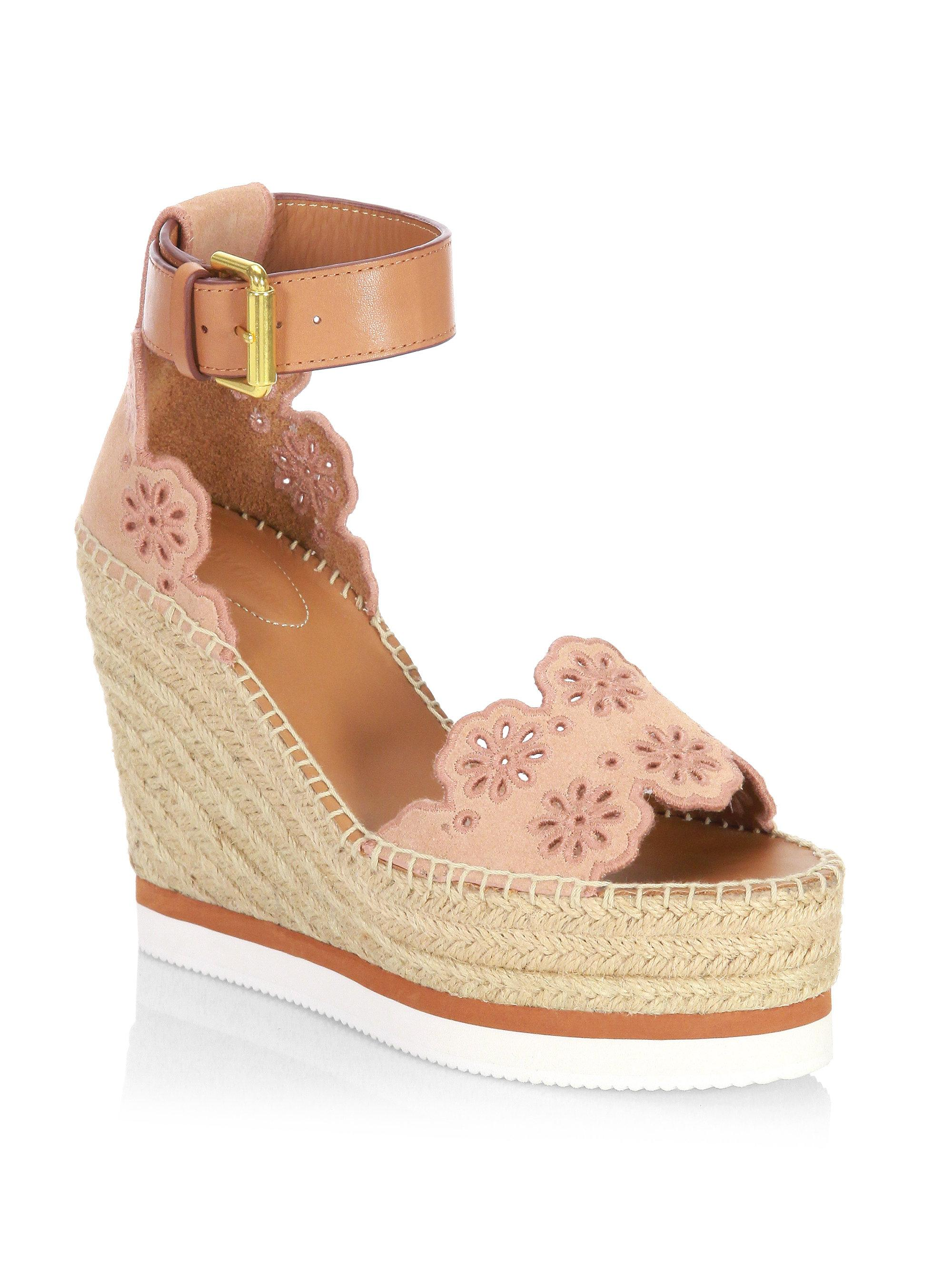 cac6042a83d See By Chloé Natural Laser Cut Suede Wedge Espadrilles