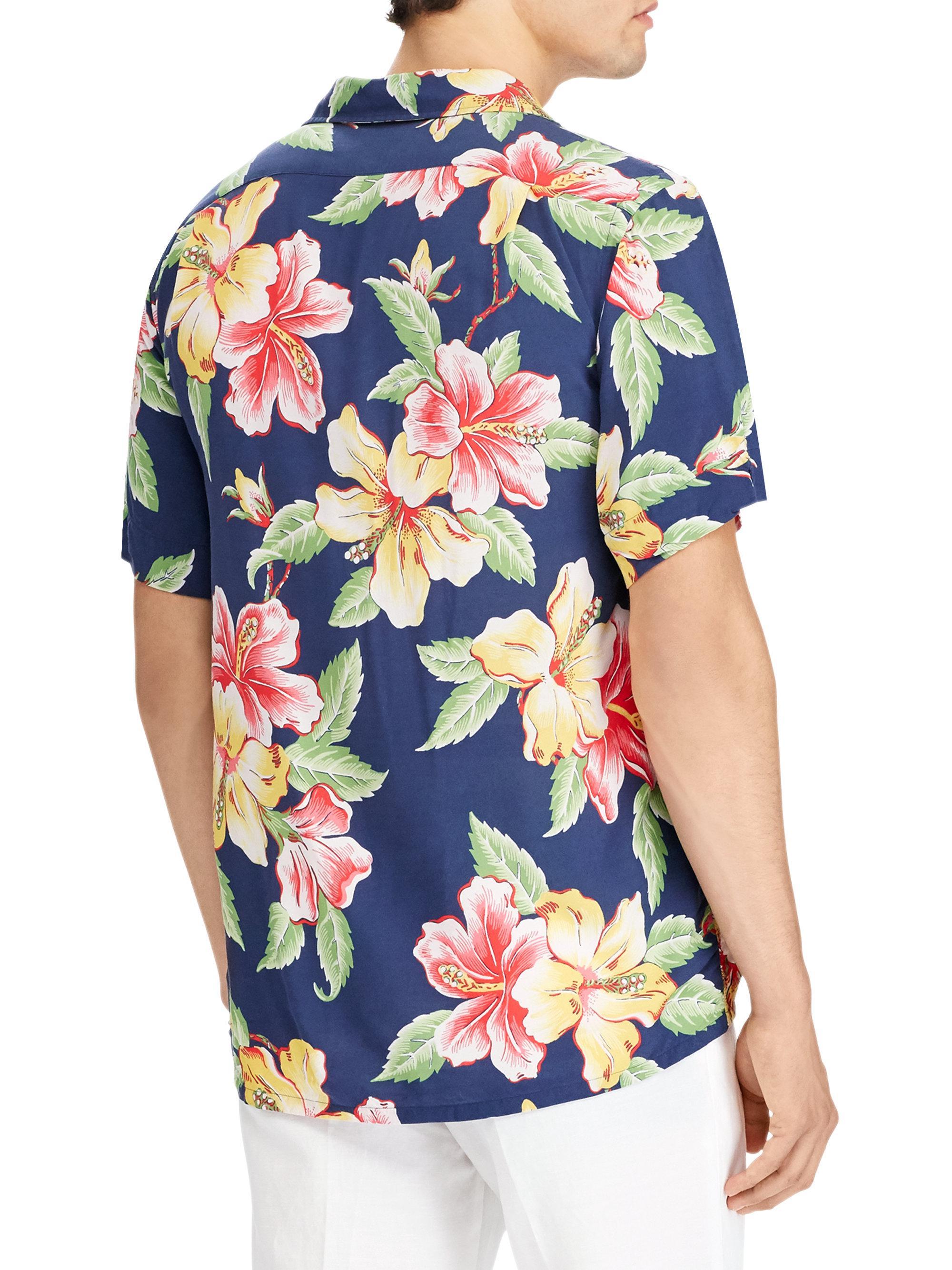Lyst polo ralph lauren floral print button down shirt in for Floral print button up shirt