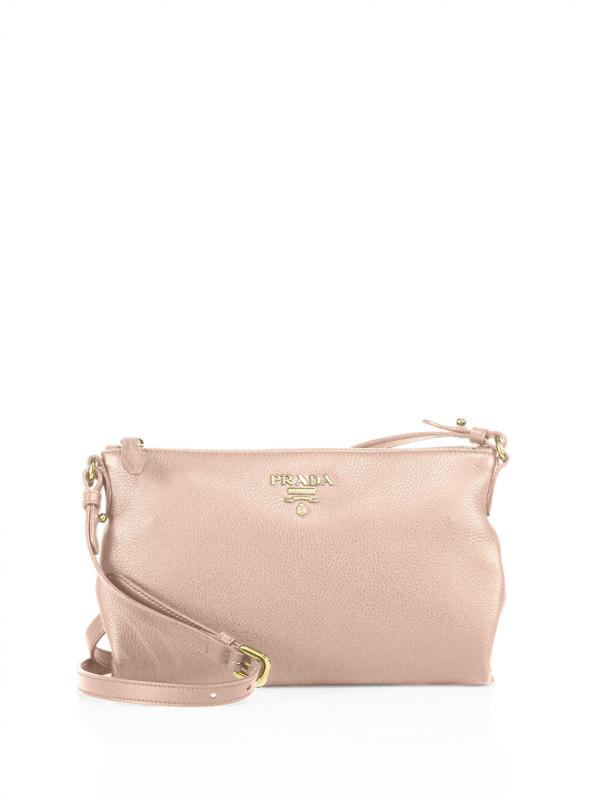 ed4132445a83 ... cheap lyst prada vit daino leather crossbody bag in pink 6e3cb c167f