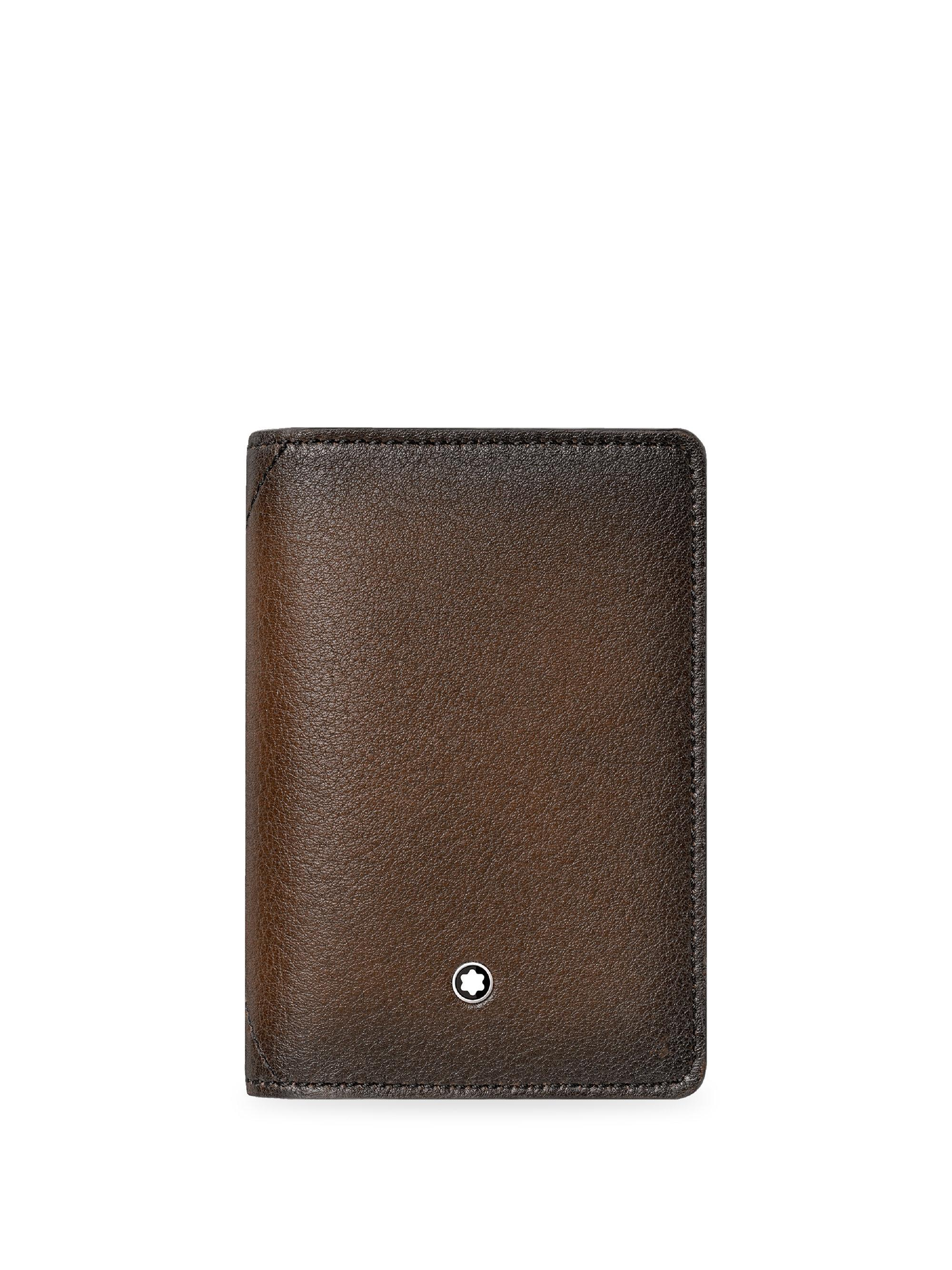 montblanc mens brown gusseted leather business card holder - Leather Business Card Holder